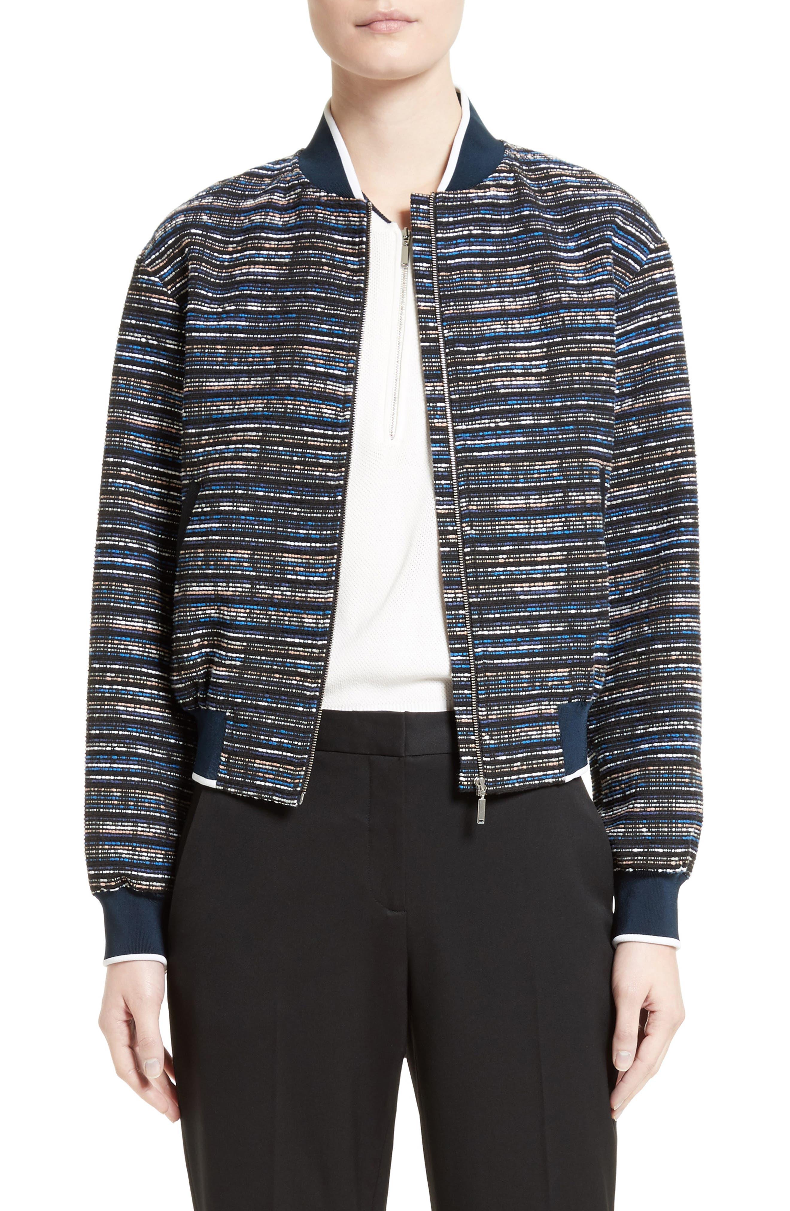 GREY Jason Wu Tweed Bomber Jacket, Main, color, 498
