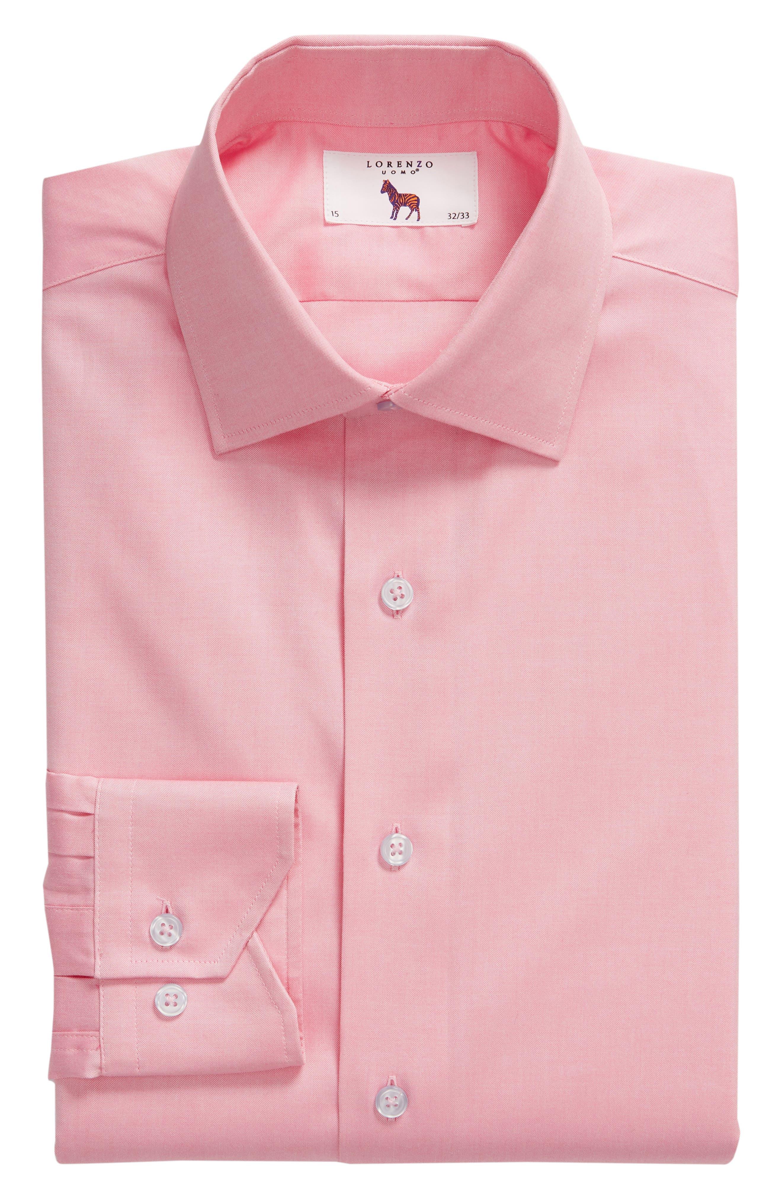 Trim Fit Solid Dress Shirt,                             Alternate thumbnail 5, color,                             PINK