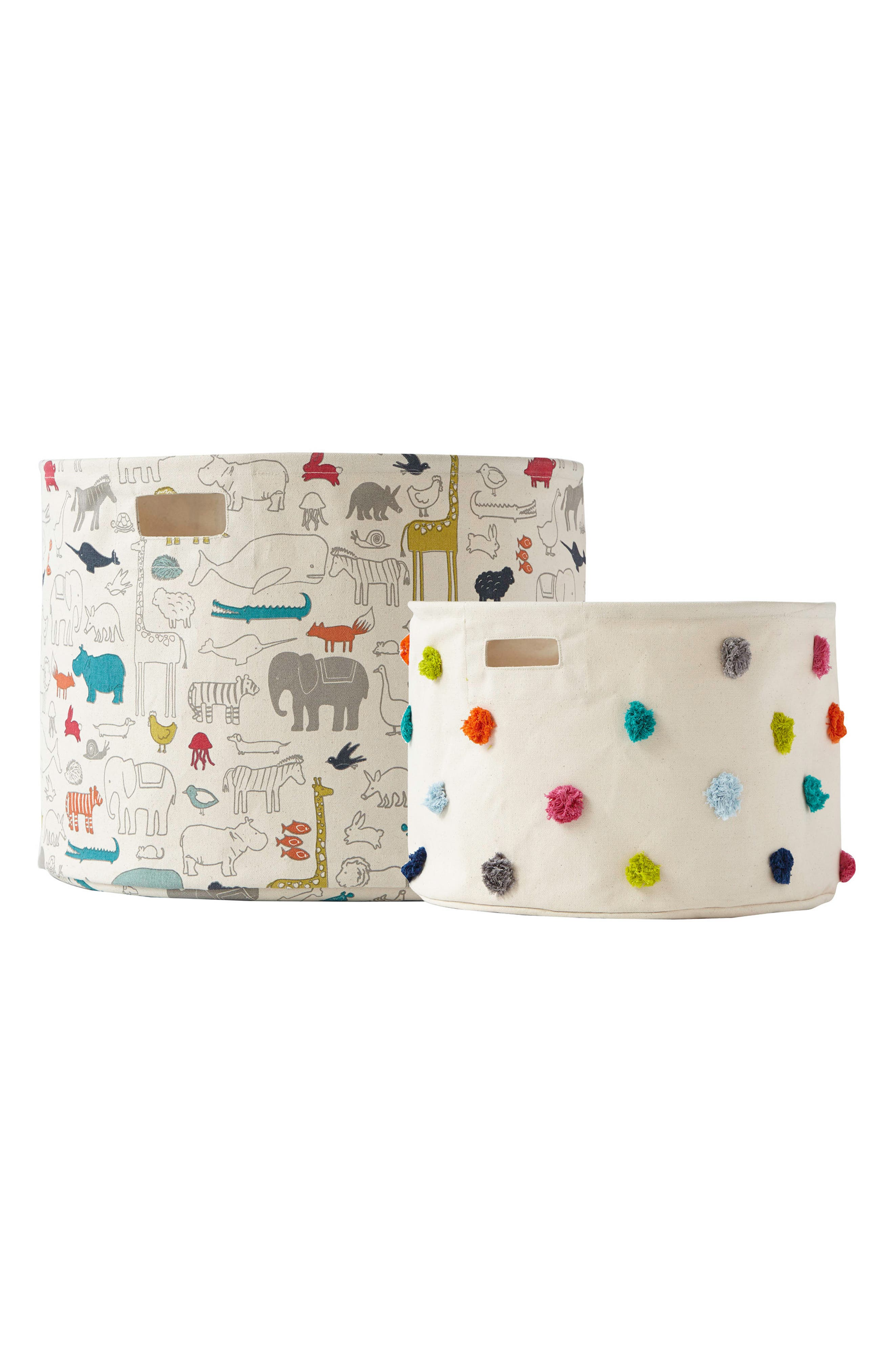 Set of 2 Canvas Bins,                             Main thumbnail 1, color,                             IVORY MULTI