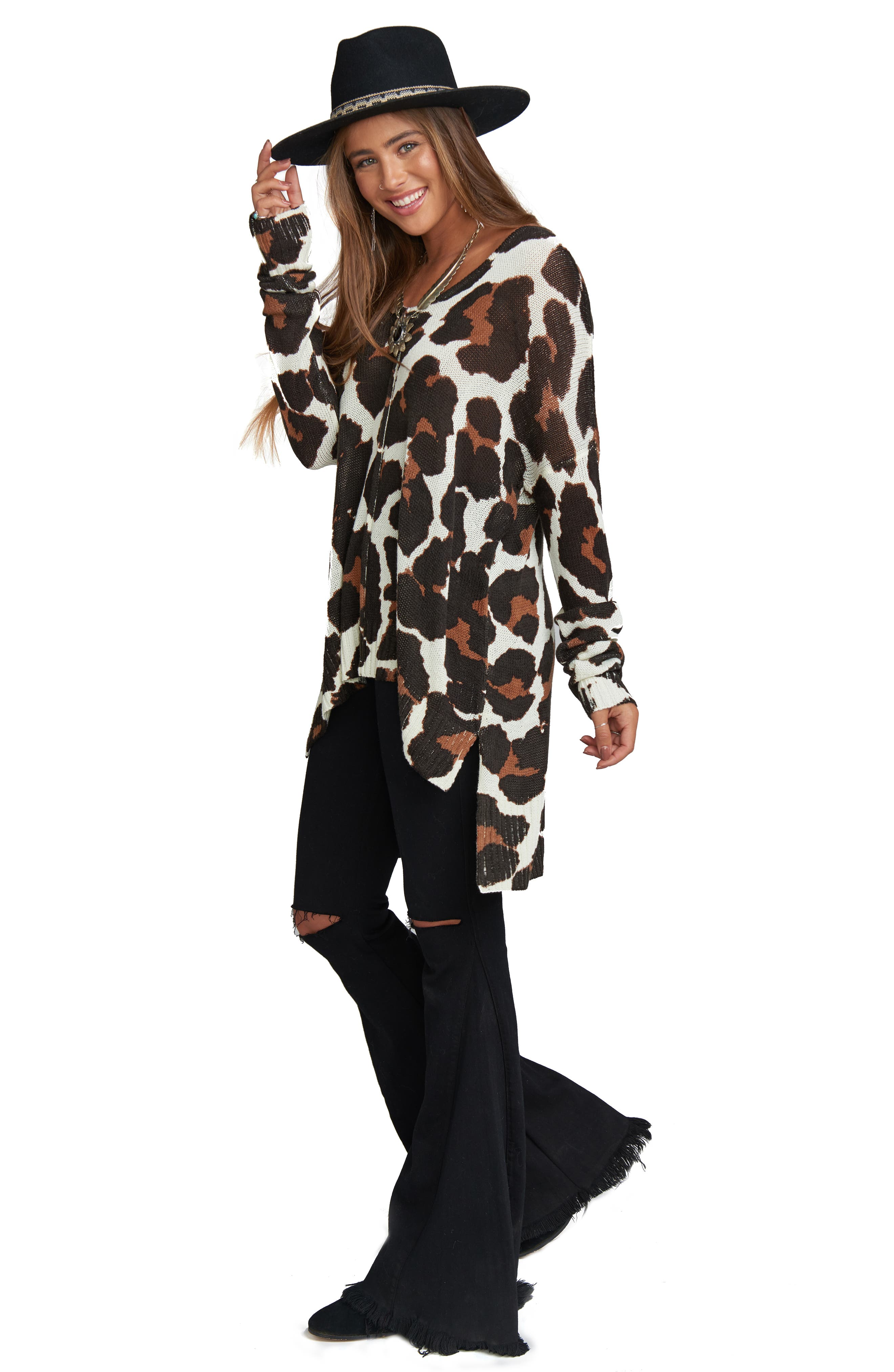 Wildcat Knit Tunic Top,                             Alternate thumbnail 3, color,                             001