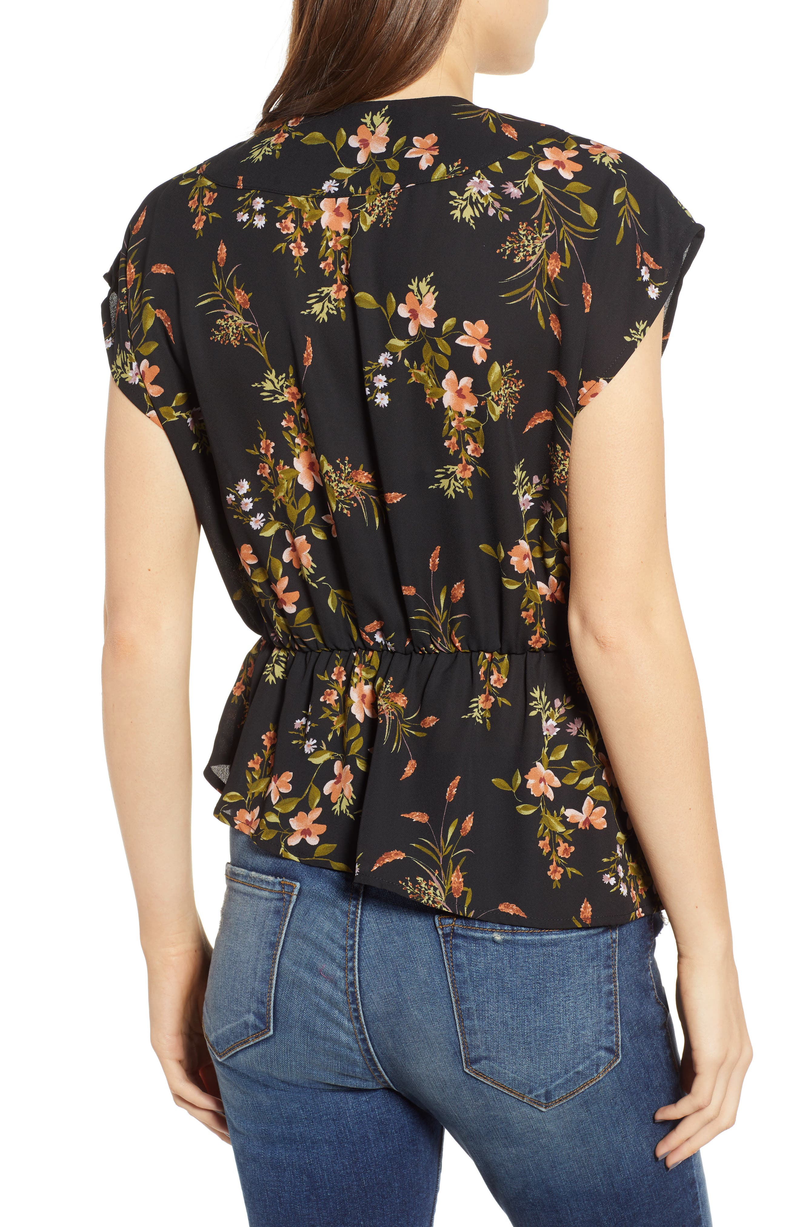Wrap Style Blouse,                             Alternate thumbnail 2, color,                             BLACK DUSTY FLORAL