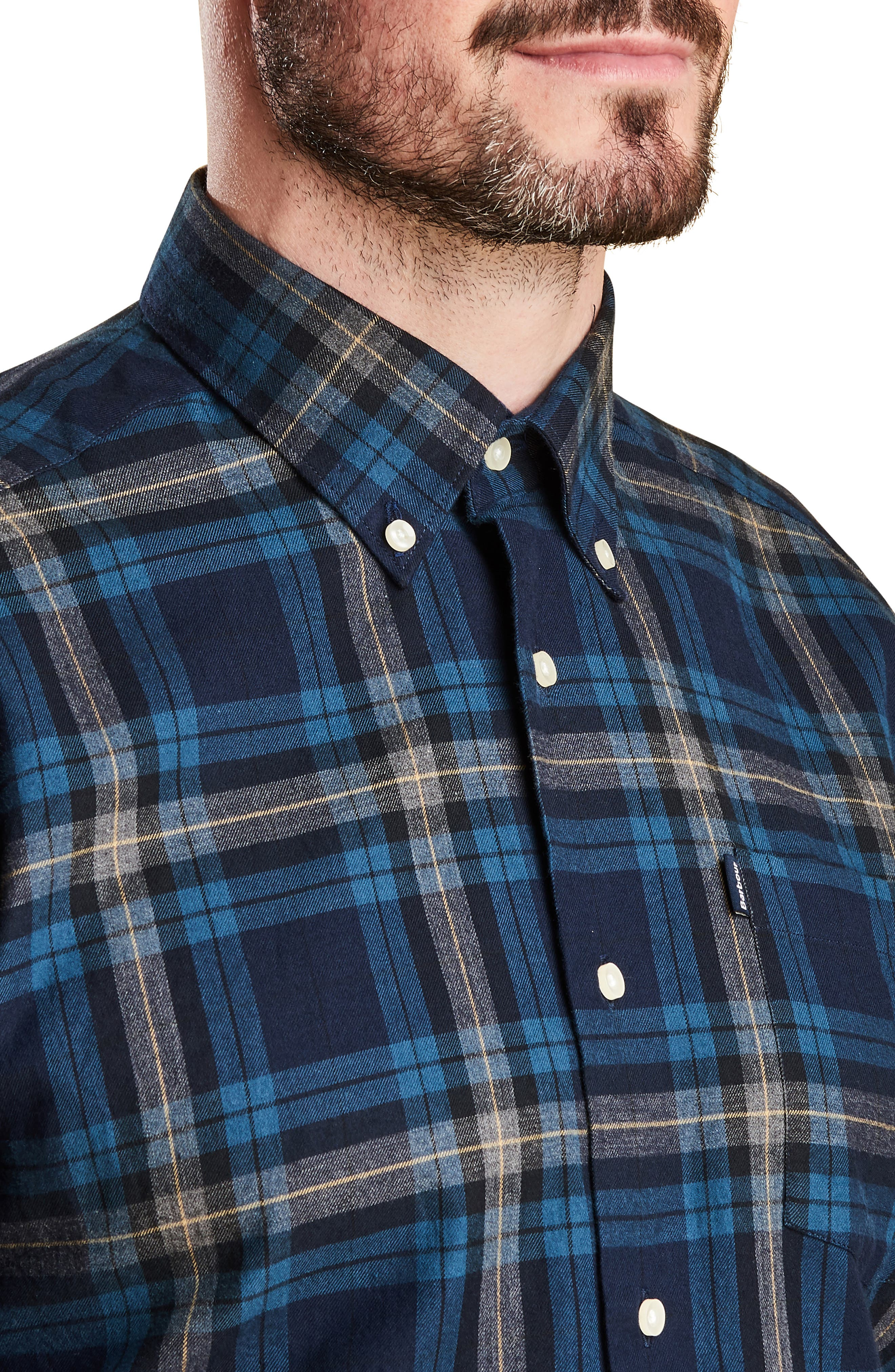 Stapleton Highland Check Sport Shirt,                             Alternate thumbnail 2, color,                             NAVY