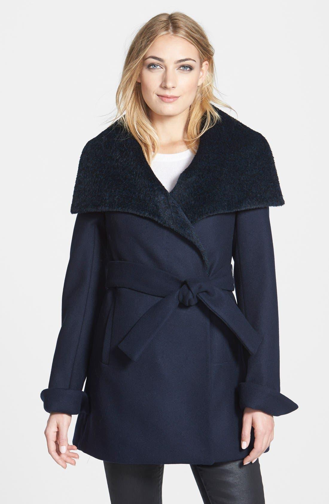 'New Jane' Wool & Alpaca Blend Trim Wrap Coat,                         Main,                         color, 410