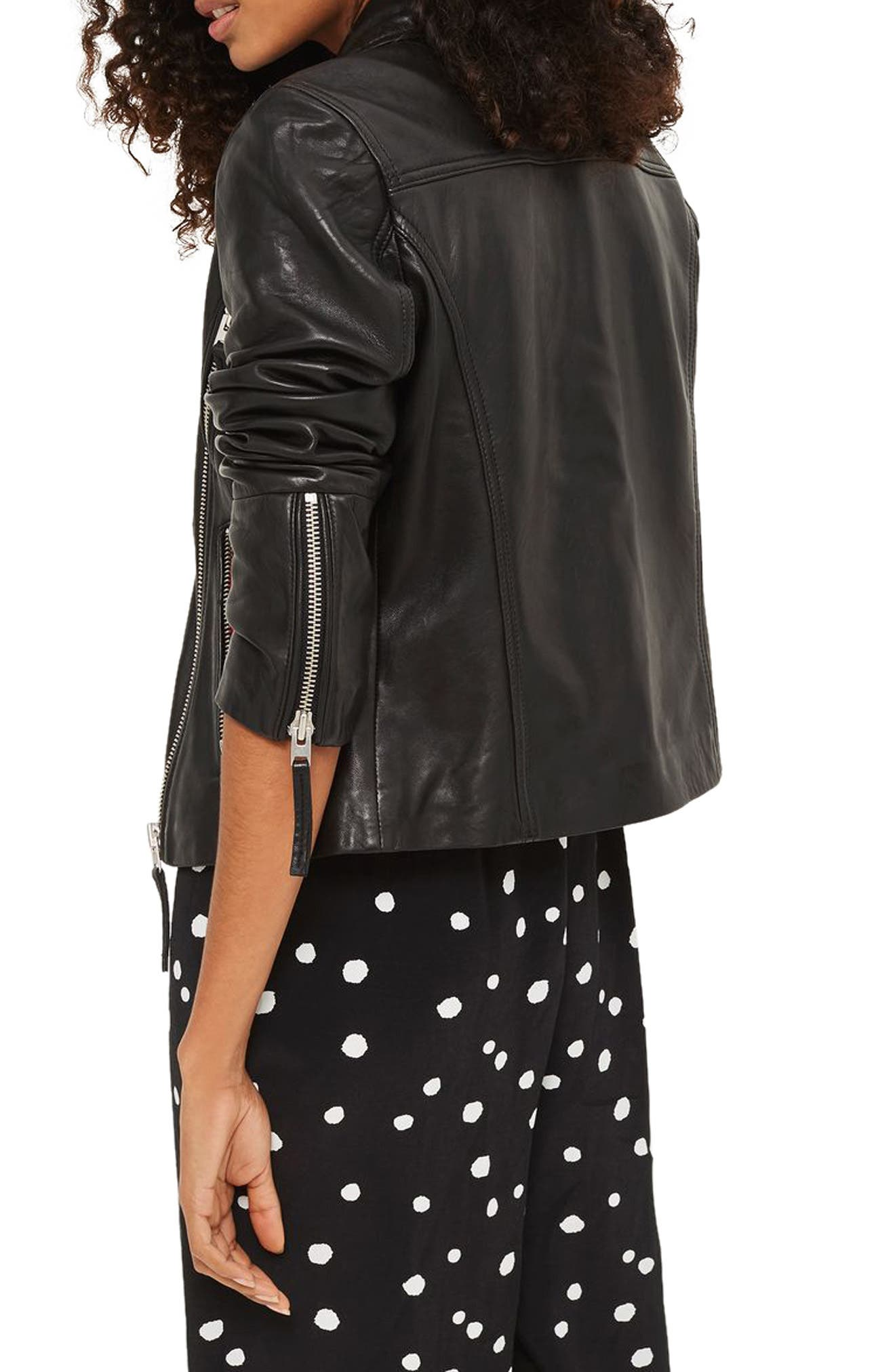 Rosemary Leather Biker Jacket,                         Main,                         color, 001