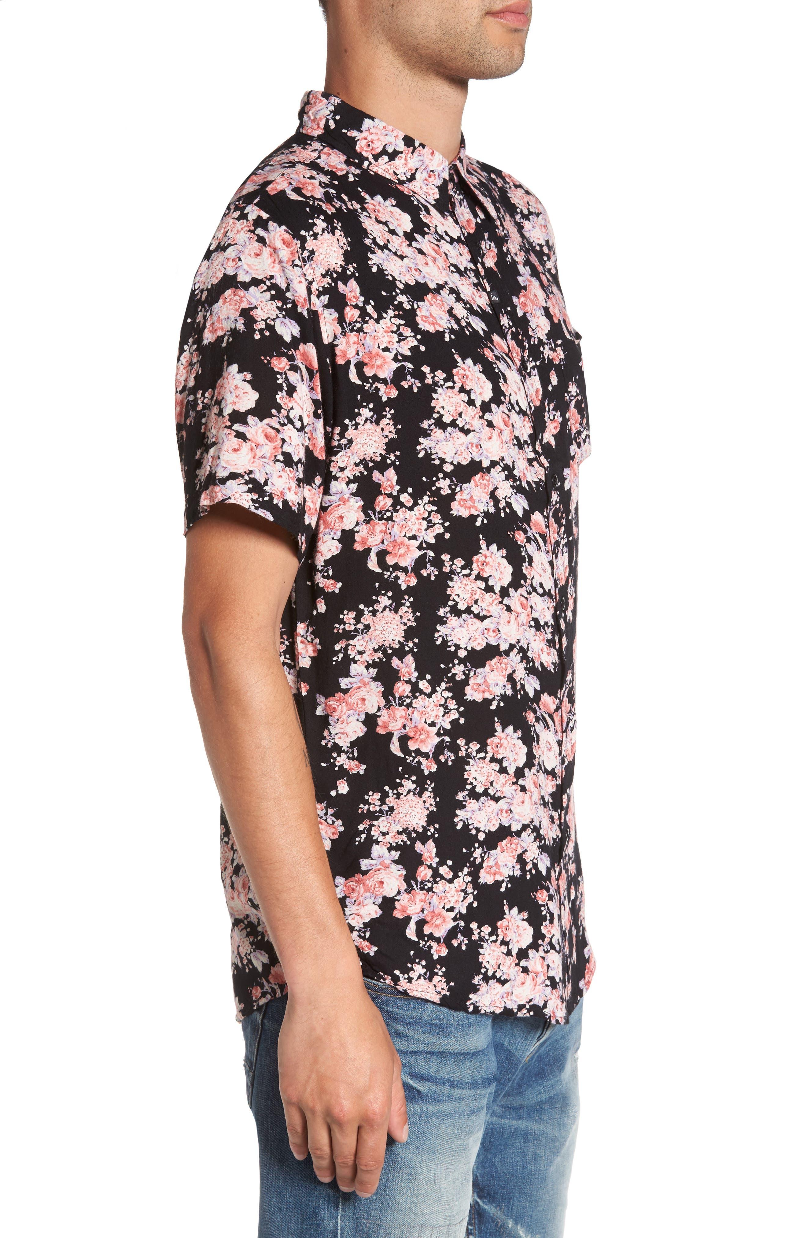 Flora Trim Fit Woven Shirt,                             Alternate thumbnail 3, color,                             001