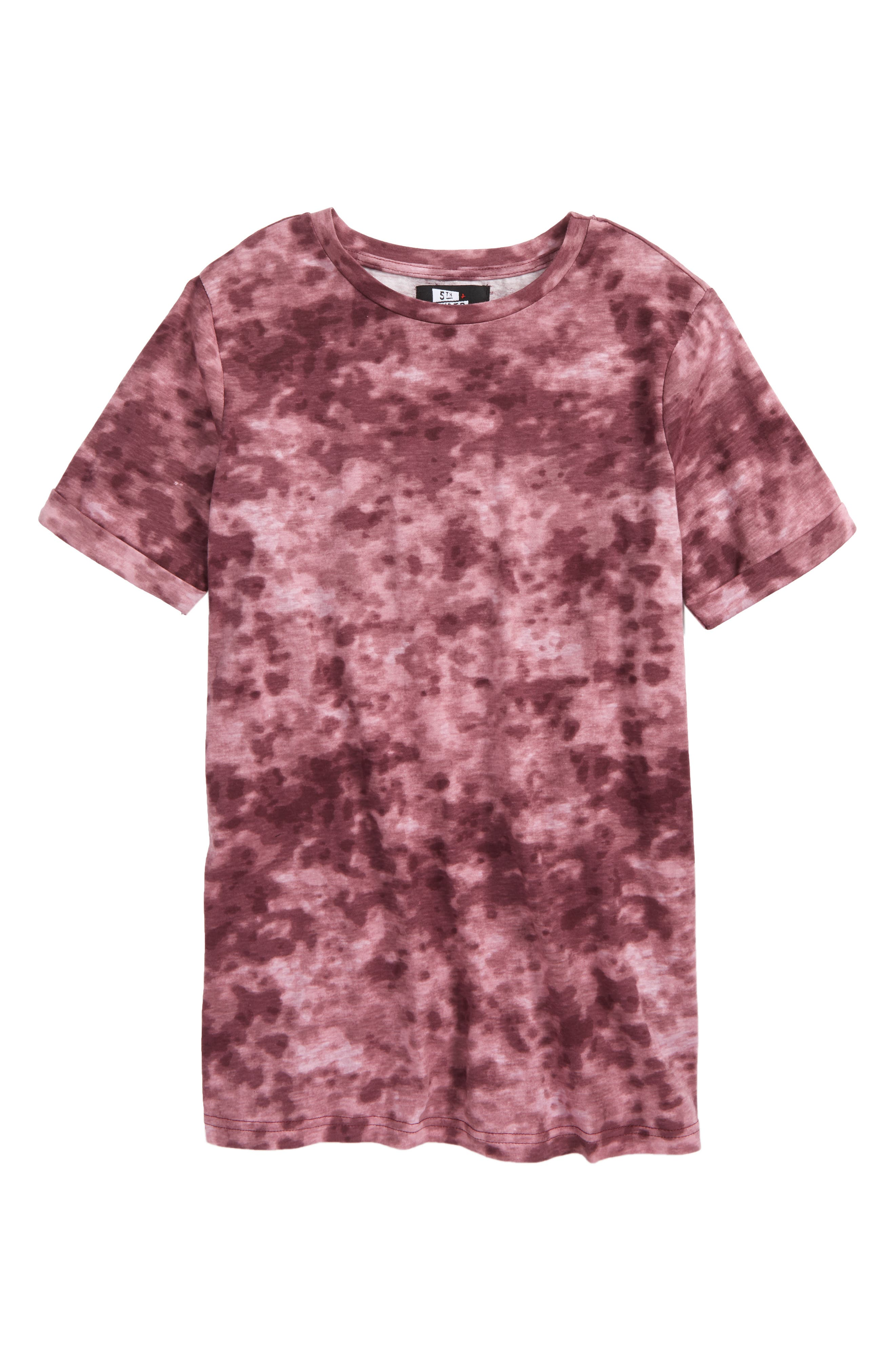 Rolled Cuff T-Shirt,                         Main,                         color, BURGUNDY SNOW WASH PRINT