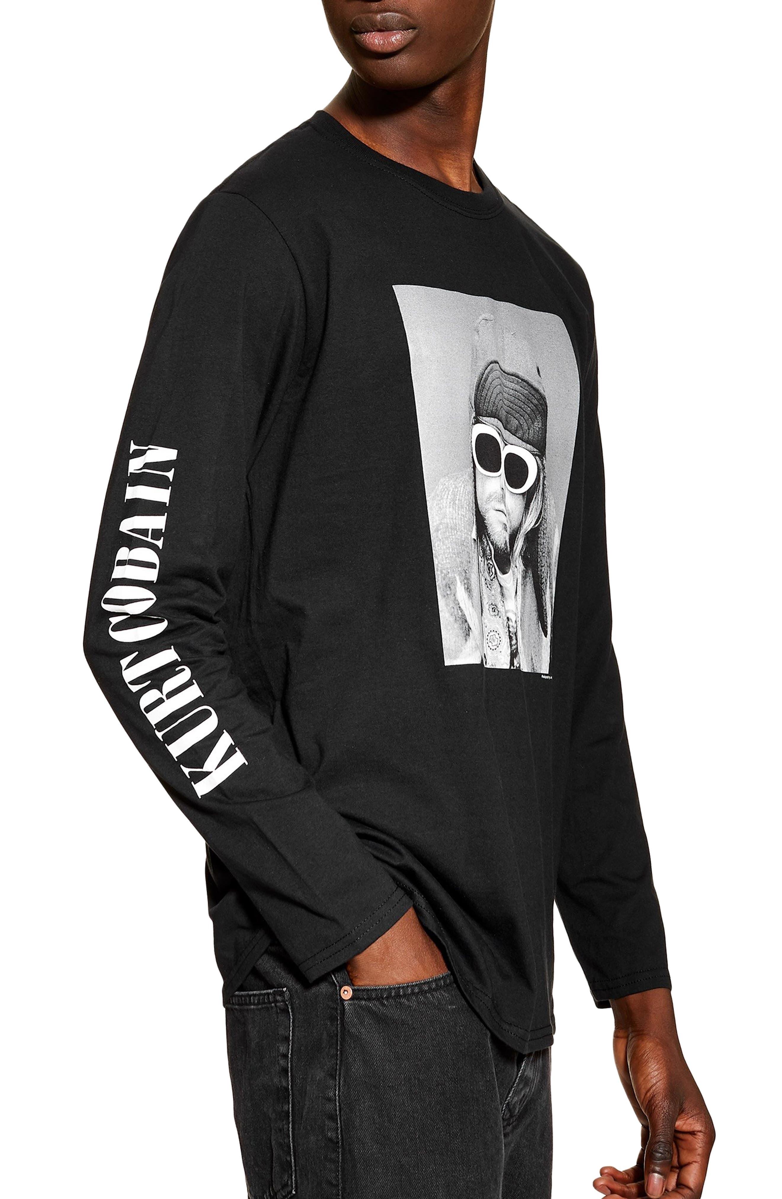 Topman Kurt Cobain Graphic Long Sleeve T-Shirt, Black