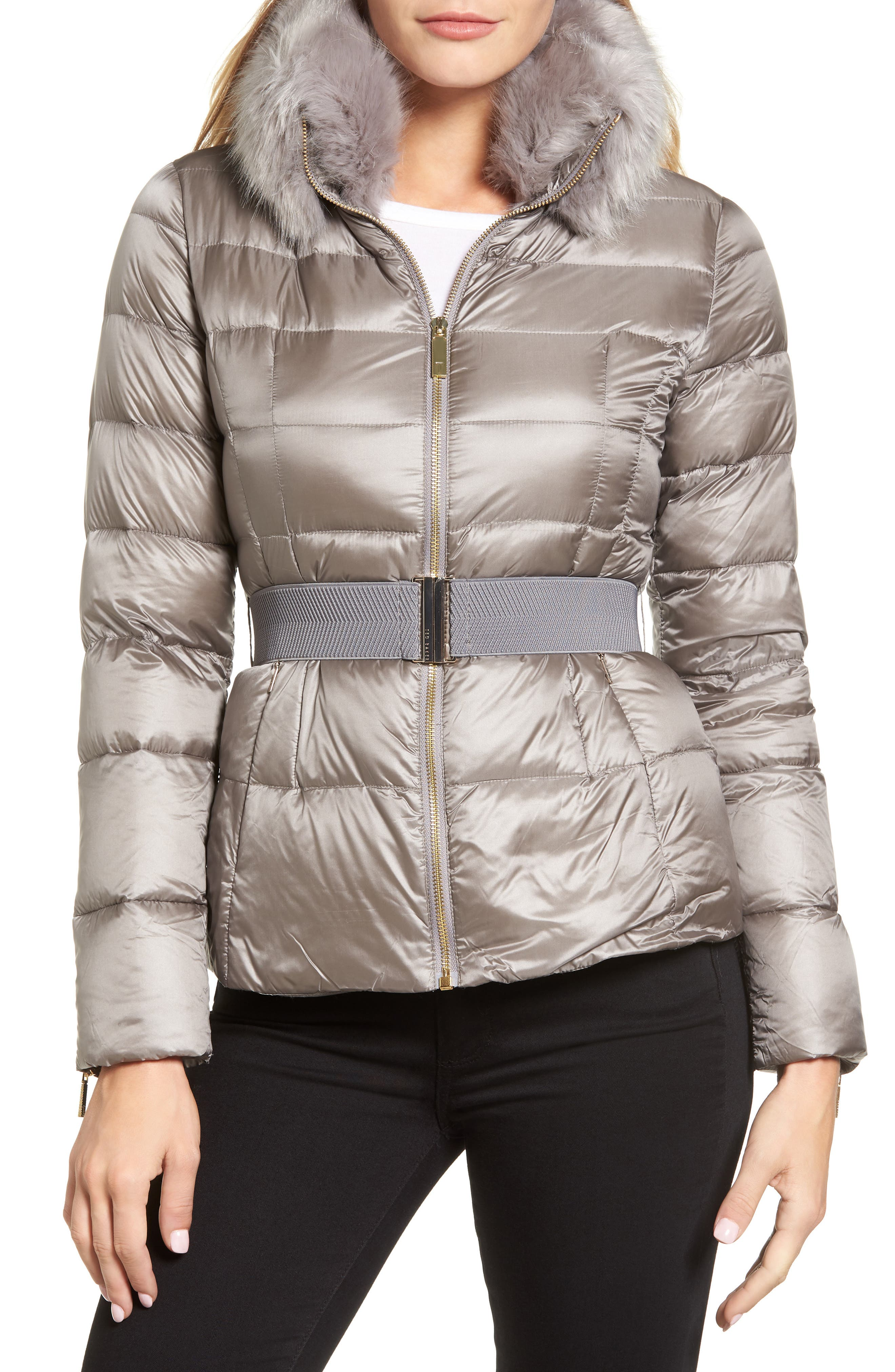 Puffer Jacket with Faux Fur Collar,                             Main thumbnail 1, color,                             050