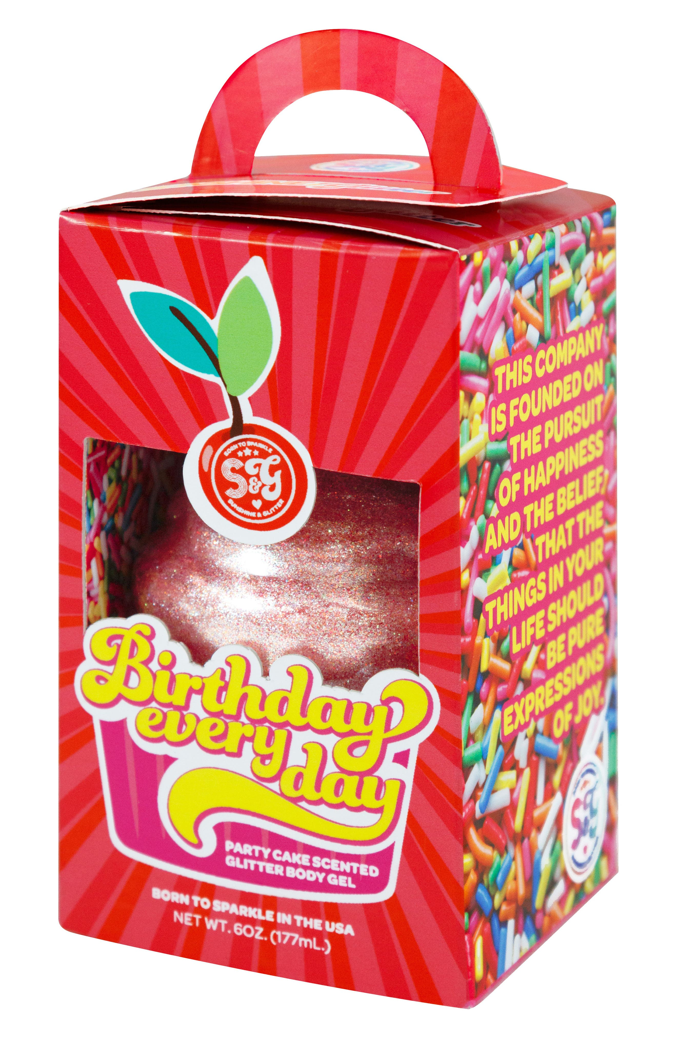Birthday Every Day Party Cake Scented Body Gel,                             Alternate thumbnail 2, color,                             PINK GLITTER