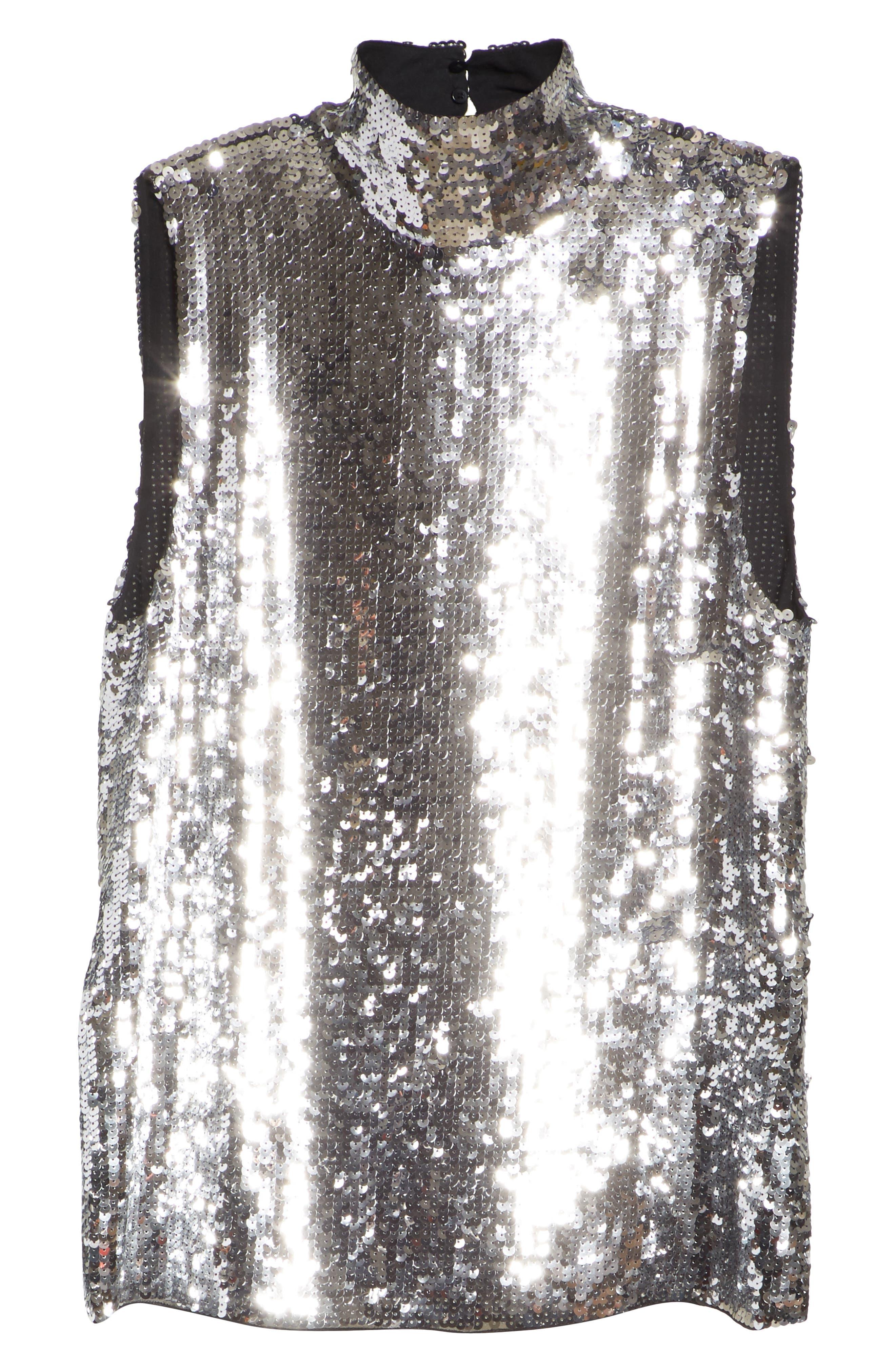 Sequin Silk Shell Tank,                             Alternate thumbnail 6, color,                             SILVER