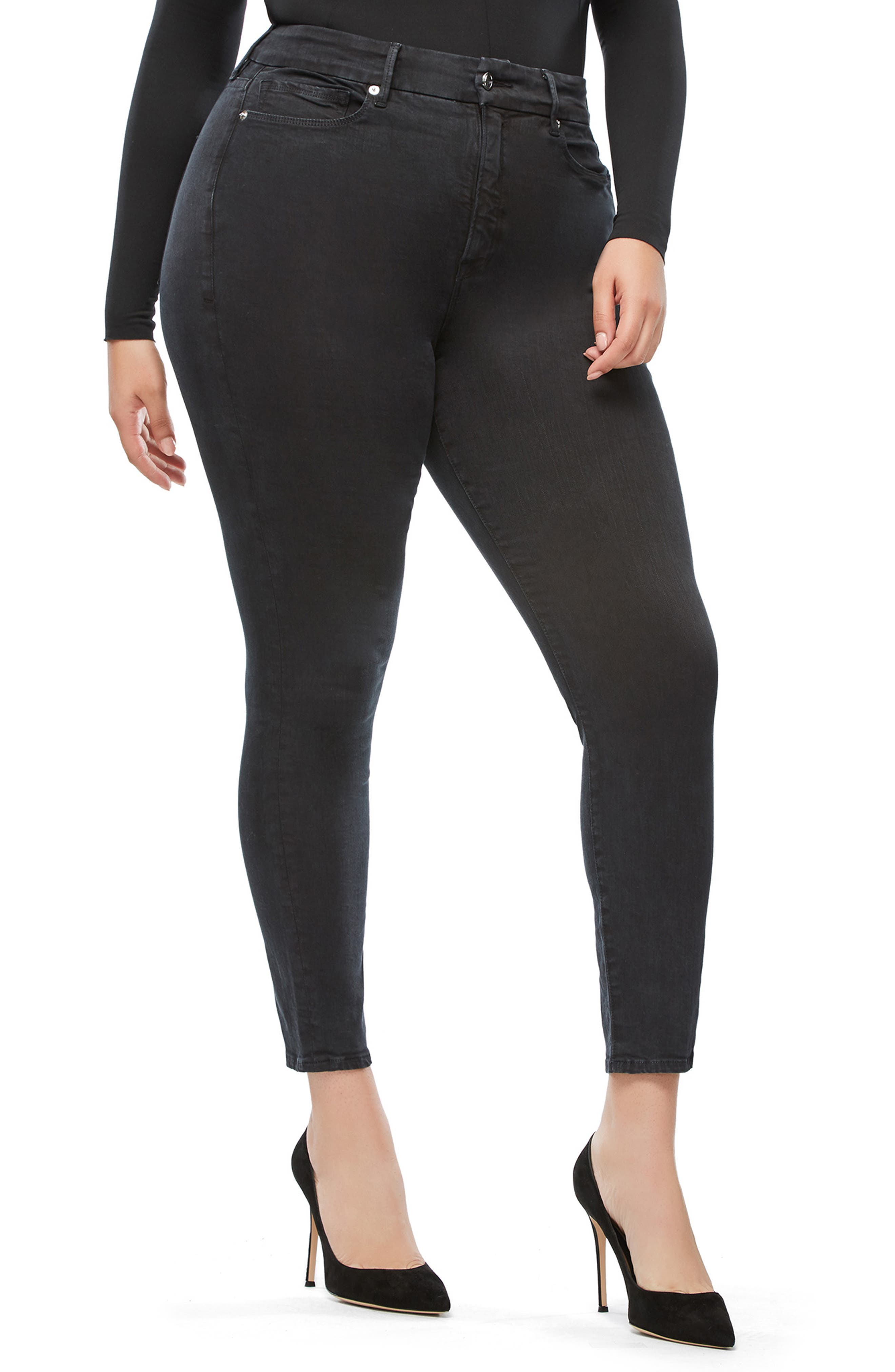 Good Legs High Waist Skinny Jeans,                             Alternate thumbnail 7, color,                             001