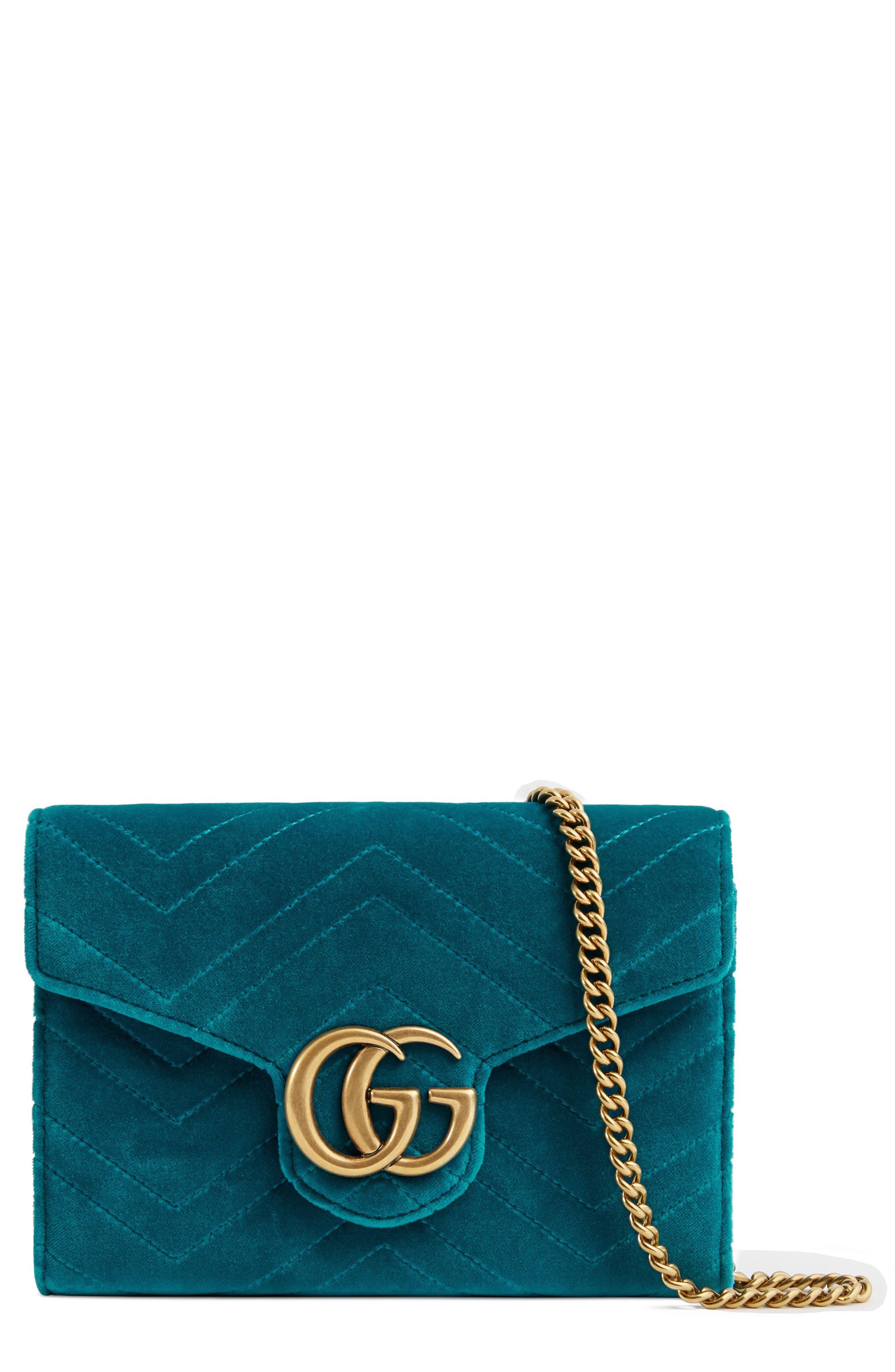 GG Marmont 2.0 Matelassé Velvet Wallet on a Chain,                             Main thumbnail 1, color,                             PAVONE/ CYAN