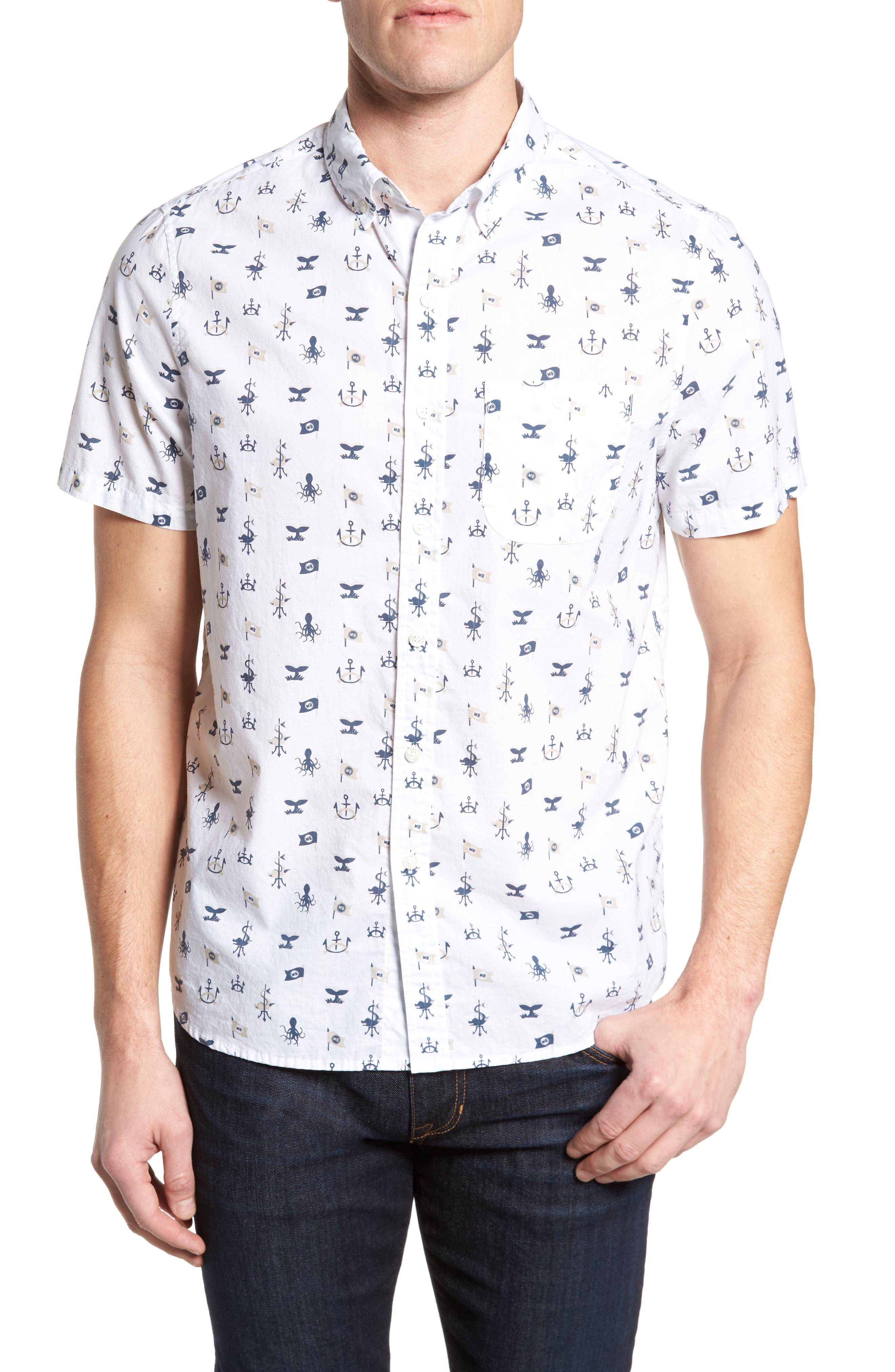Trim Fit Nautical Sport Shirt,                         Main,                         color, 100