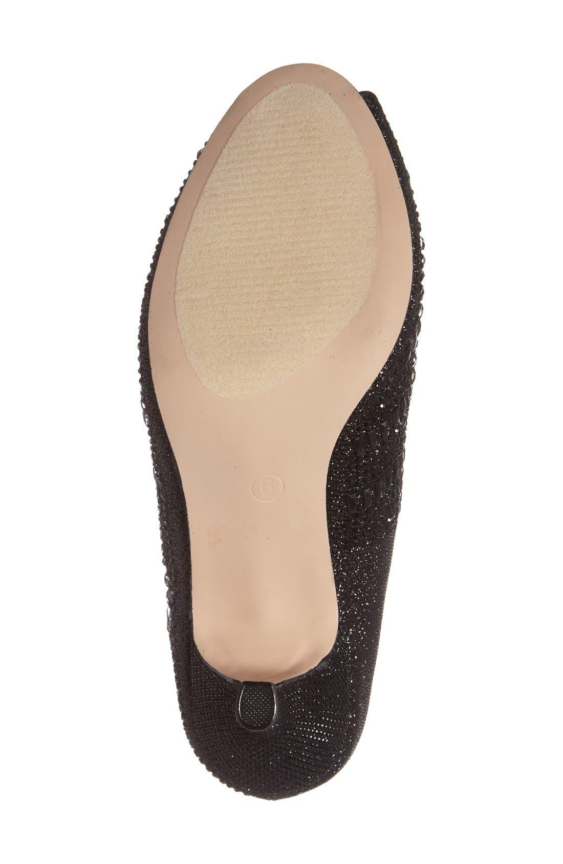 'Belinda' Crystal Embellished Peep Toe Pump,                             Alternate thumbnail 4, color,                             001