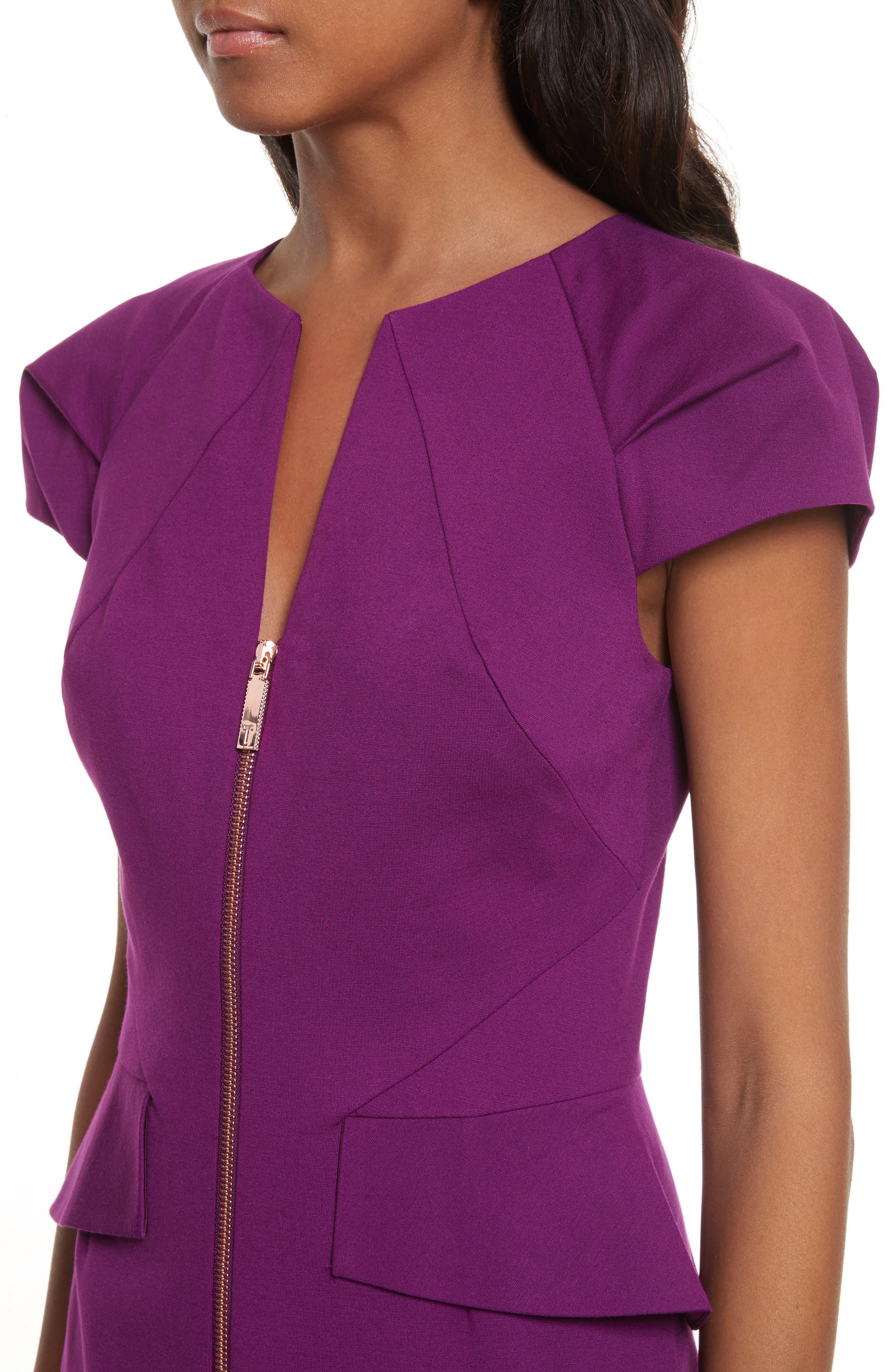 Fidelle Structured Peplum Dress,                             Alternate thumbnail 4, color,                             501