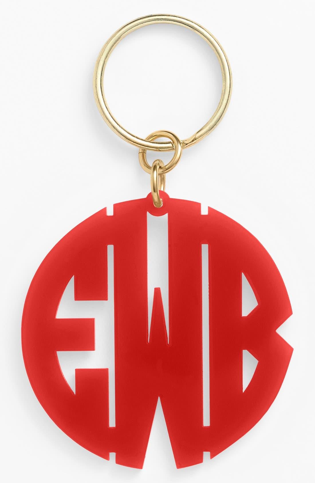 Personalized Monogram Key Chain,                             Main thumbnail 1, color,                             RUBY
