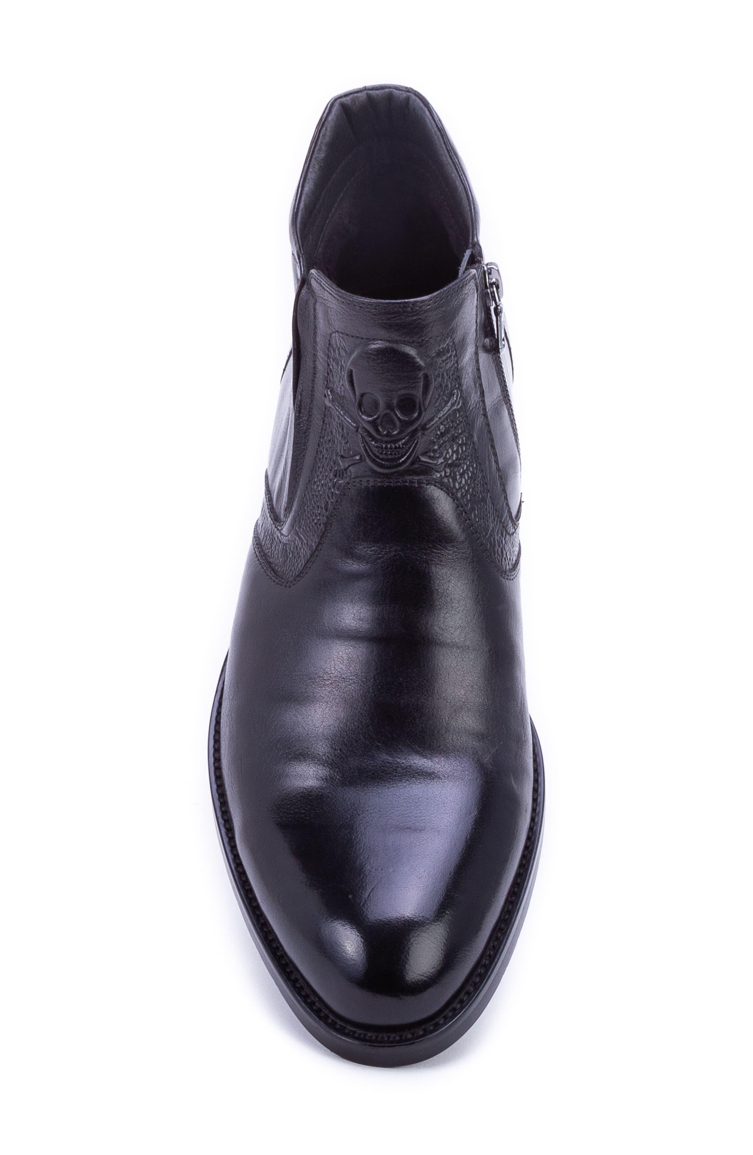 Gordon Skull Embossed Boot,                             Alternate thumbnail 5, color,                             BLACK LEATHER