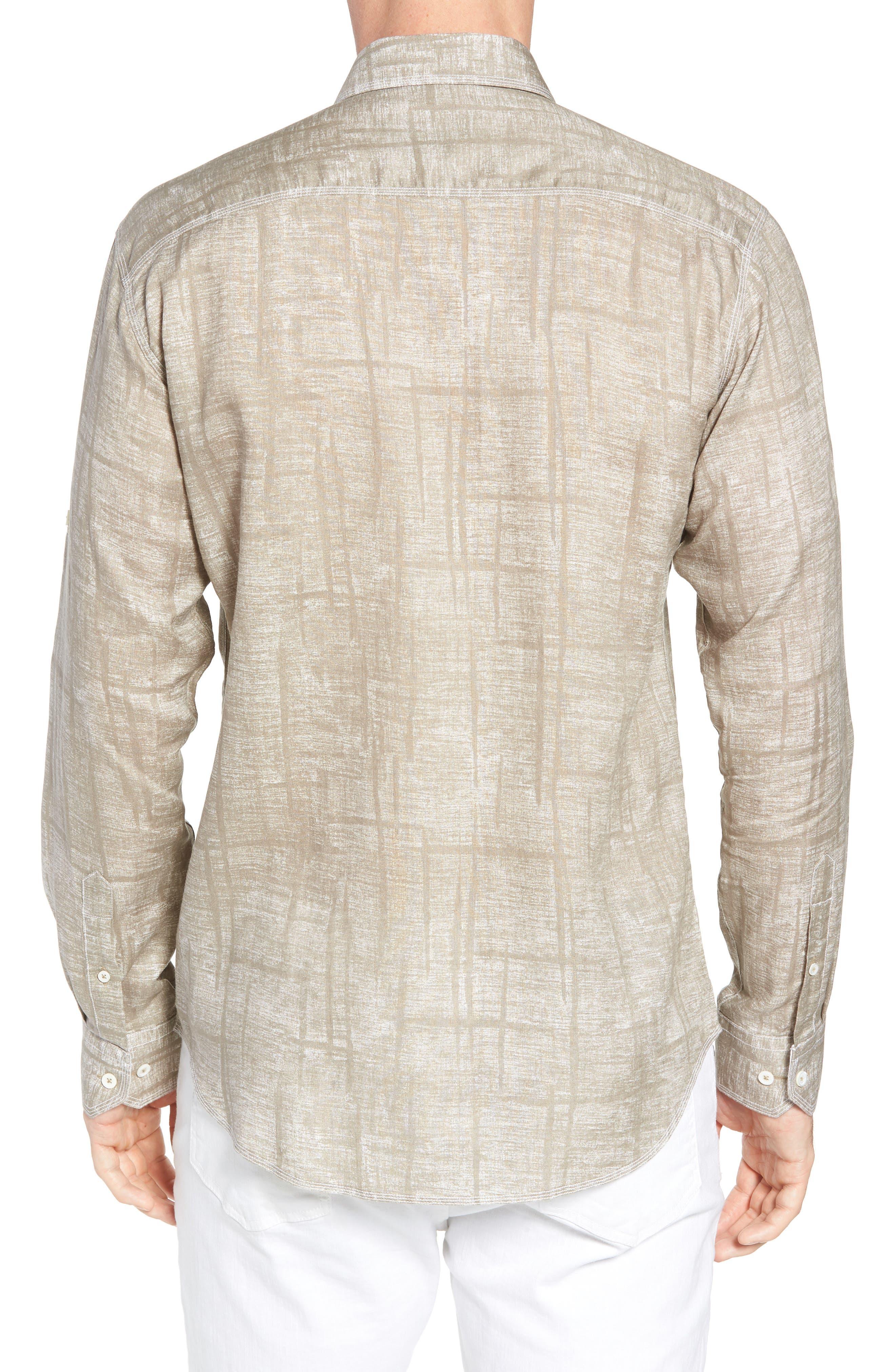 Shaped Fit Linen Sport Shirt,                             Alternate thumbnail 2, color,                             SAND
