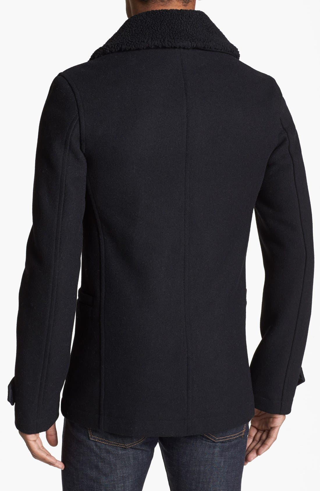 Skinny Fit Double Breasted Peacoat,                             Alternate thumbnail 3, color,                             001
