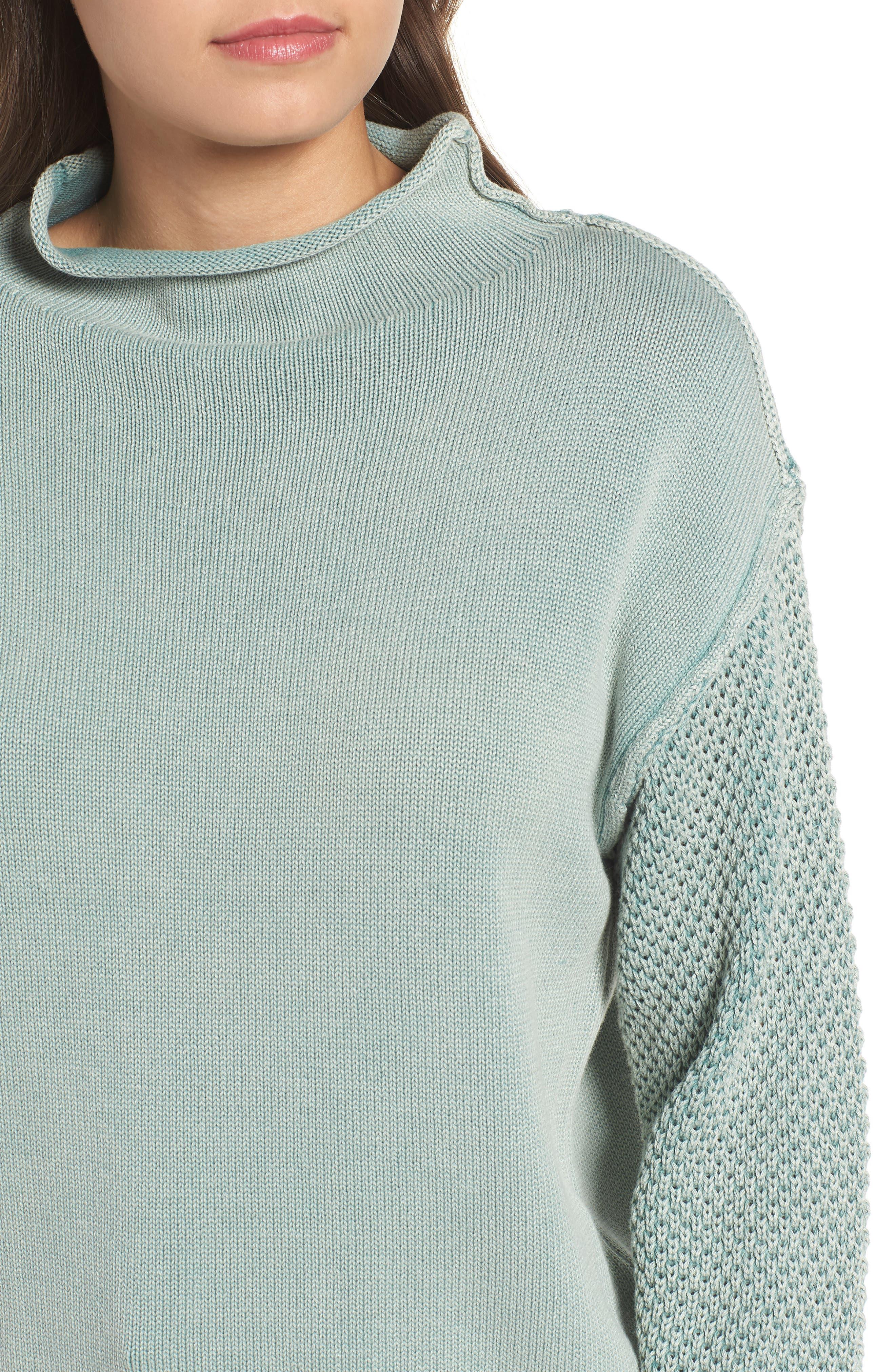Exposed Seam Sweater,                             Alternate thumbnail 4, color,                             SEA WASH