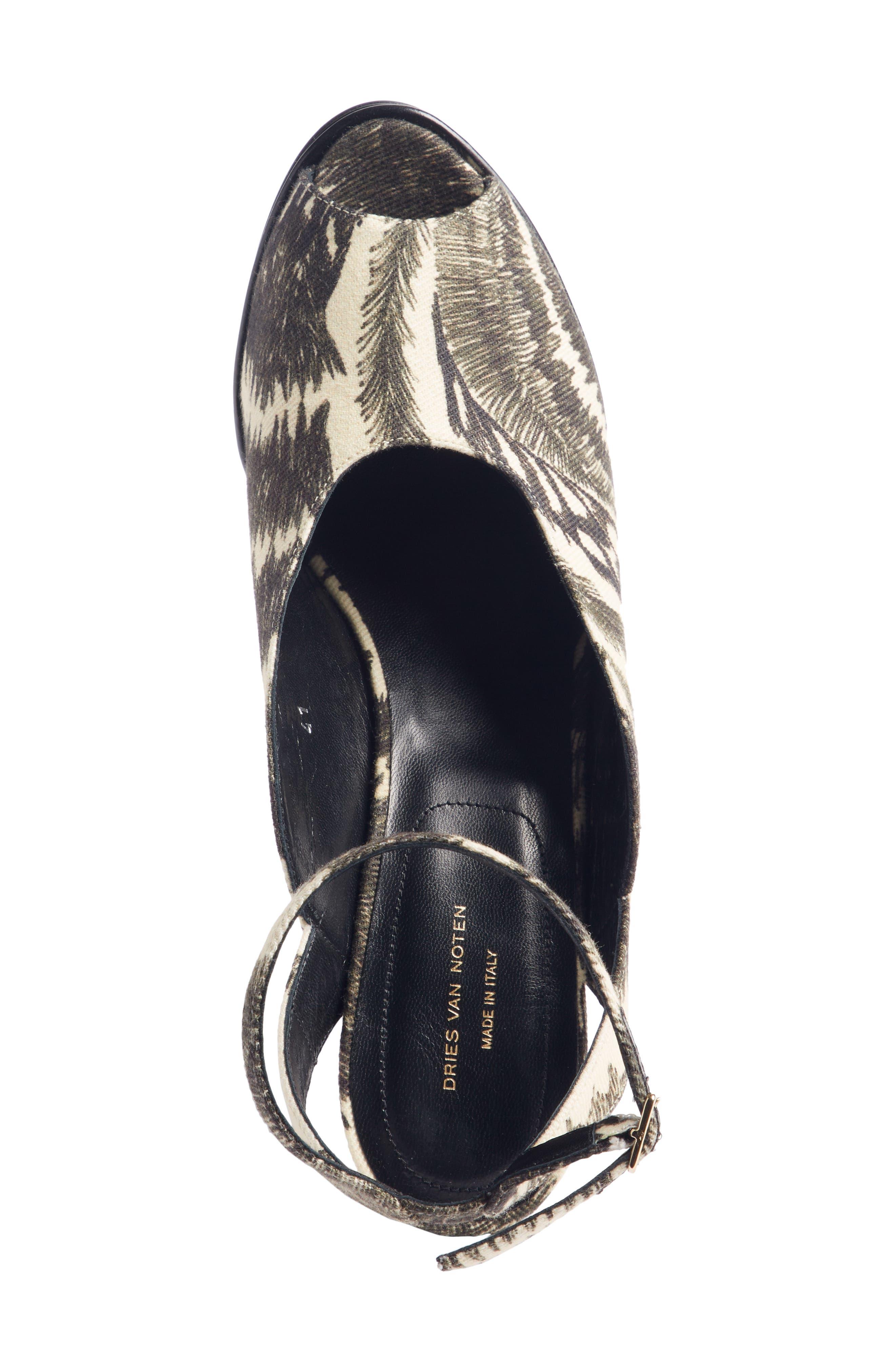 Wave Heel Platform Sandal,                             Alternate thumbnail 4, color,                             BLACK/ IVORY