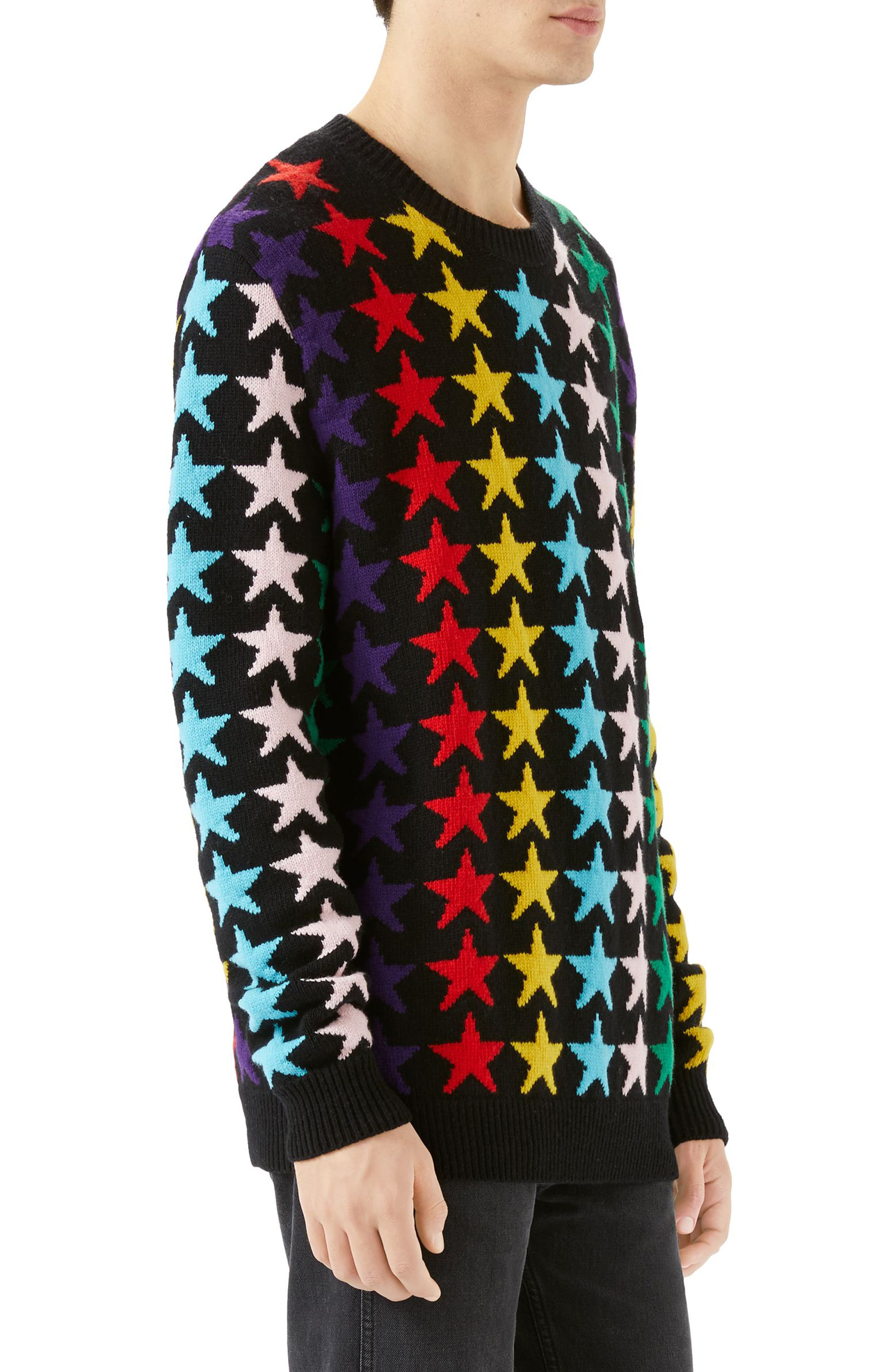 Allover Jacquard Stars Wool Sweater,                             Alternate thumbnail 3, color,                             BLACK