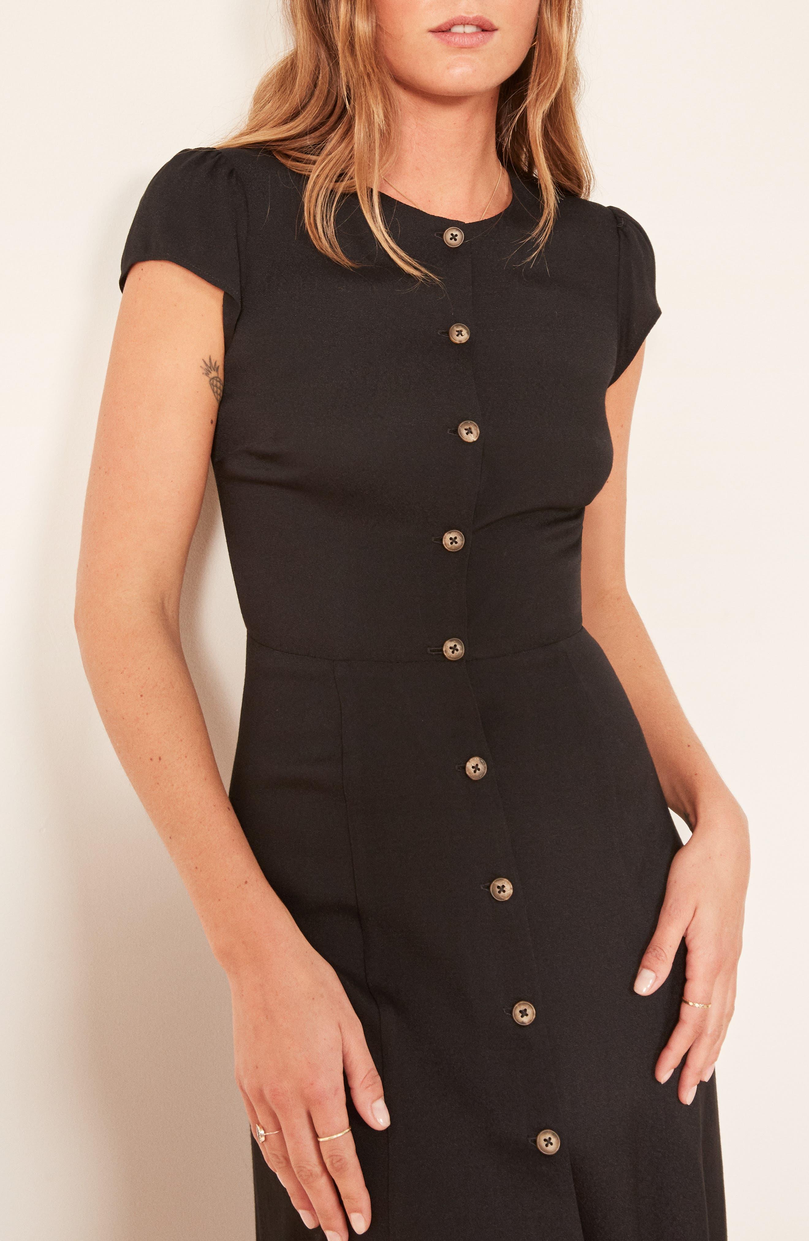 Fauna Front Button Midi Dress,                             Alternate thumbnail 4, color,                             BLACK