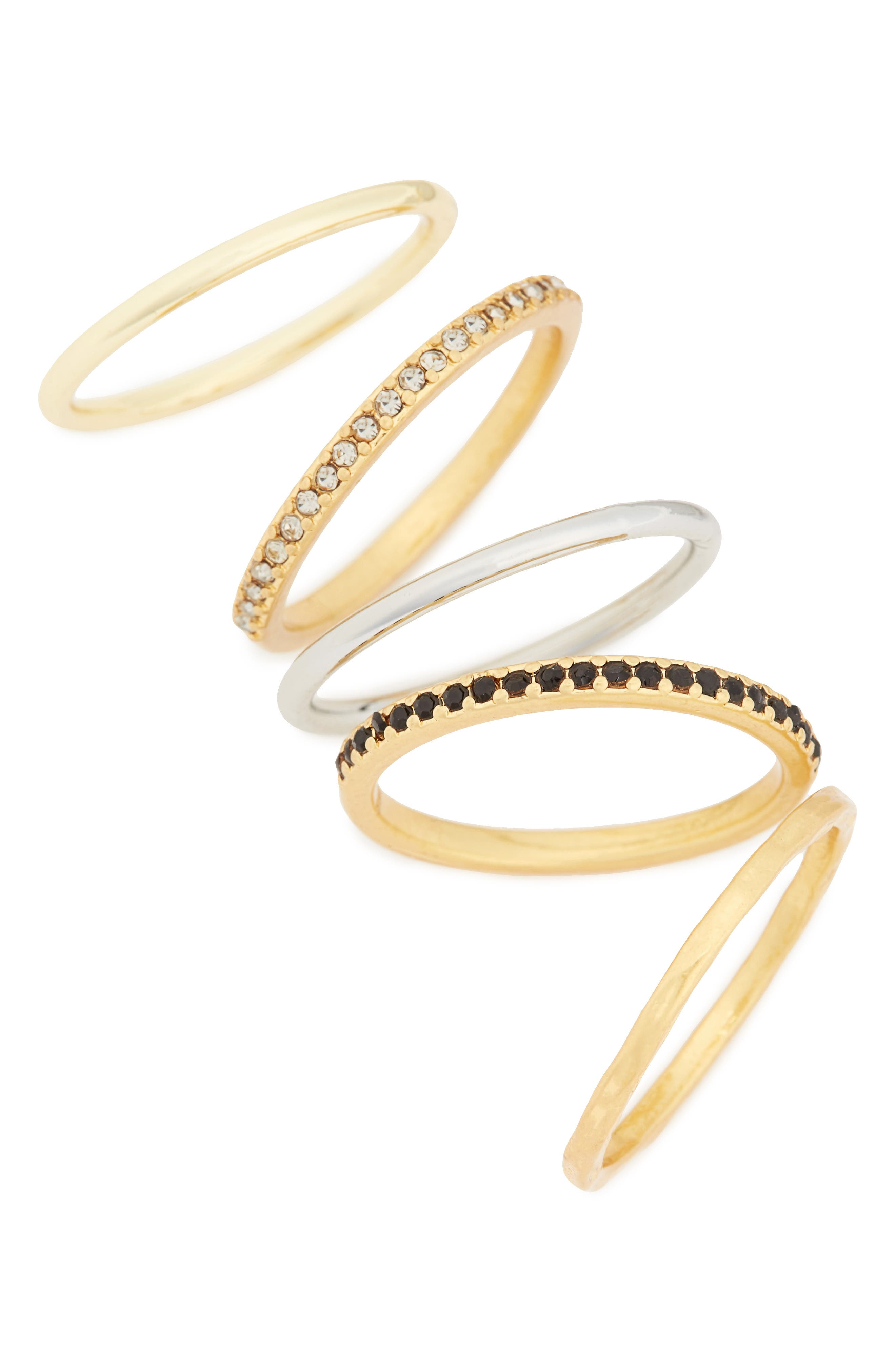 Filament Set of 5 Stacking Rings,                         Main,                         color, VINTAGE GOLD