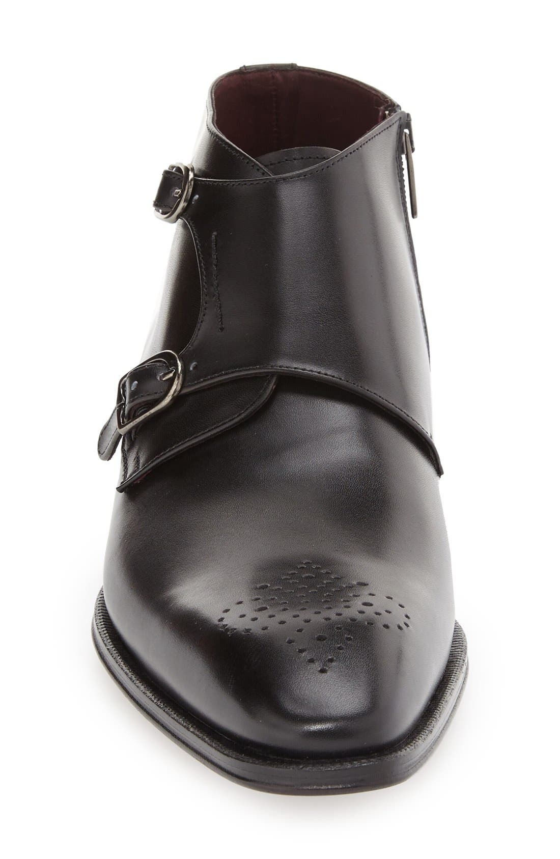 'Rocca' Midi Double Monk Strap Boot,                             Alternate thumbnail 3, color,                             001