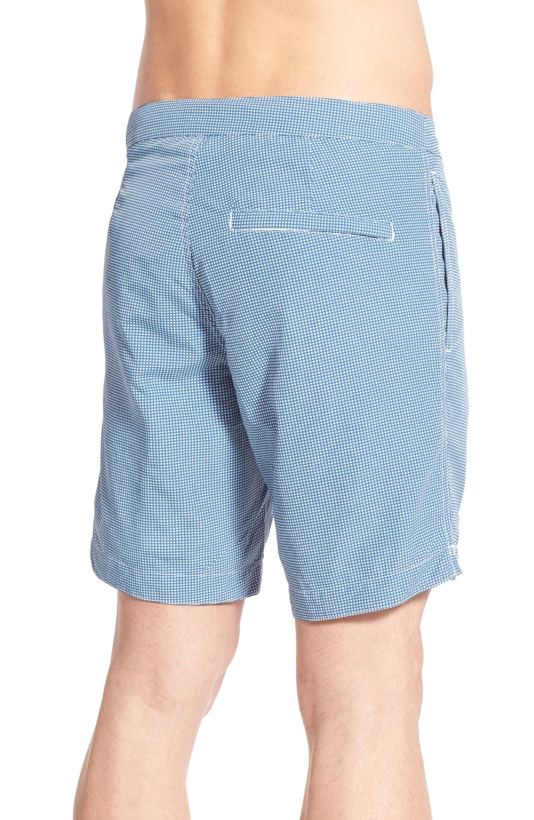 Aruba Tailored Fit Microcheck 8.5 Inch Swim Trunks,                             Alternate thumbnail 2, color,                             MICRO SQUARE ASH BLUE