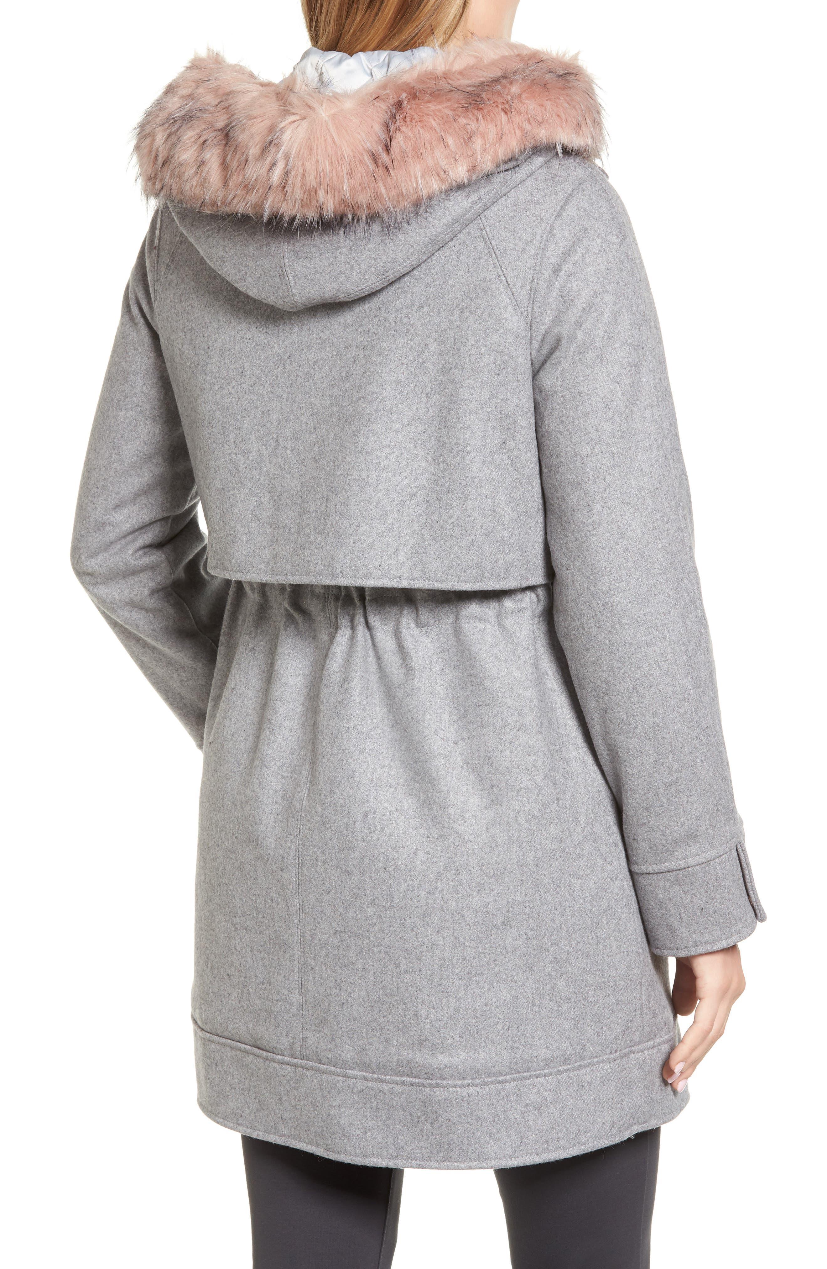 Wool Coat with Faux Fur Trim,                             Alternate thumbnail 2, color,                             050