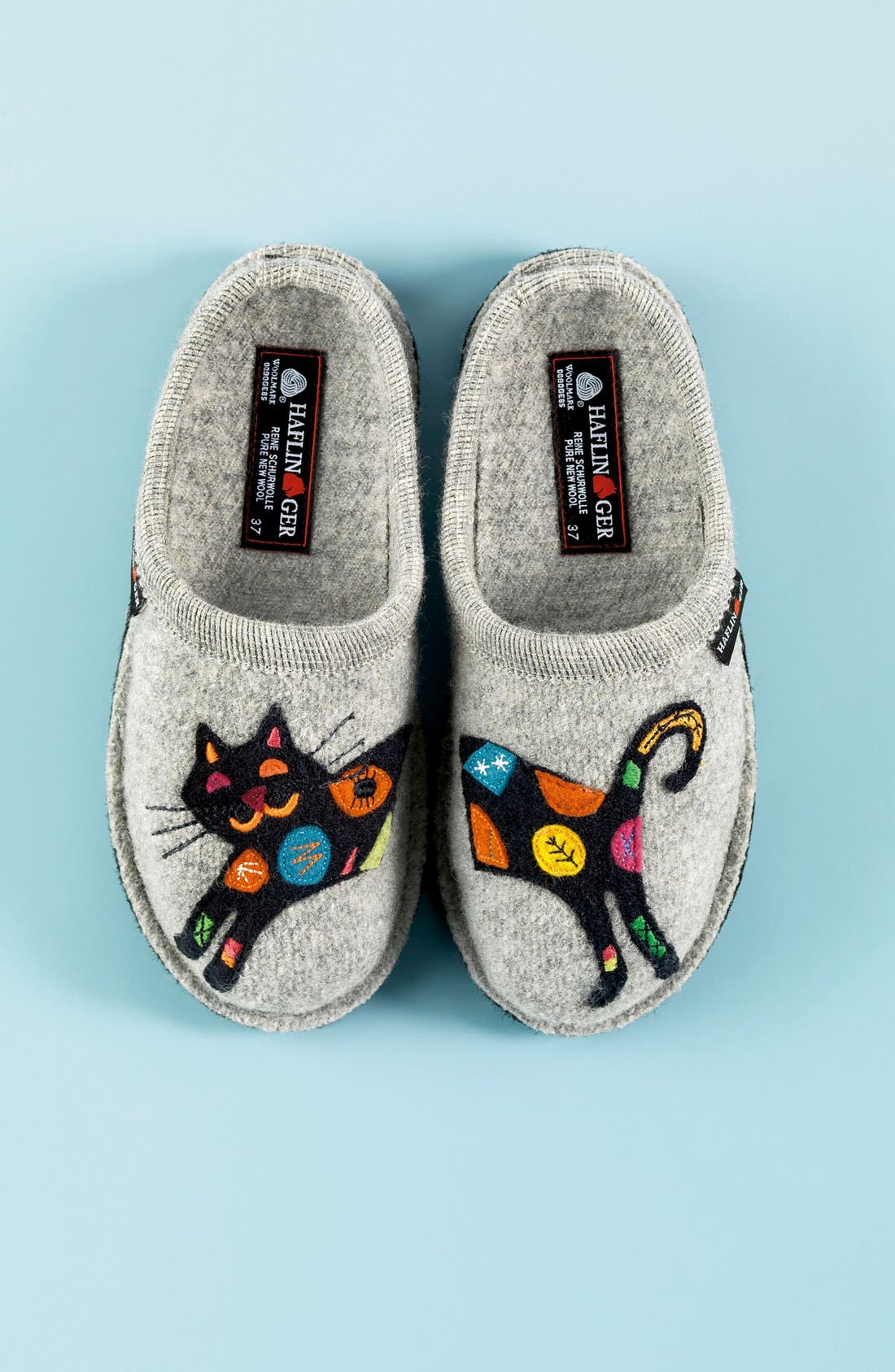 'Cat' Slipper,                             Alternate thumbnail 5, color,                             GREY WOOL
