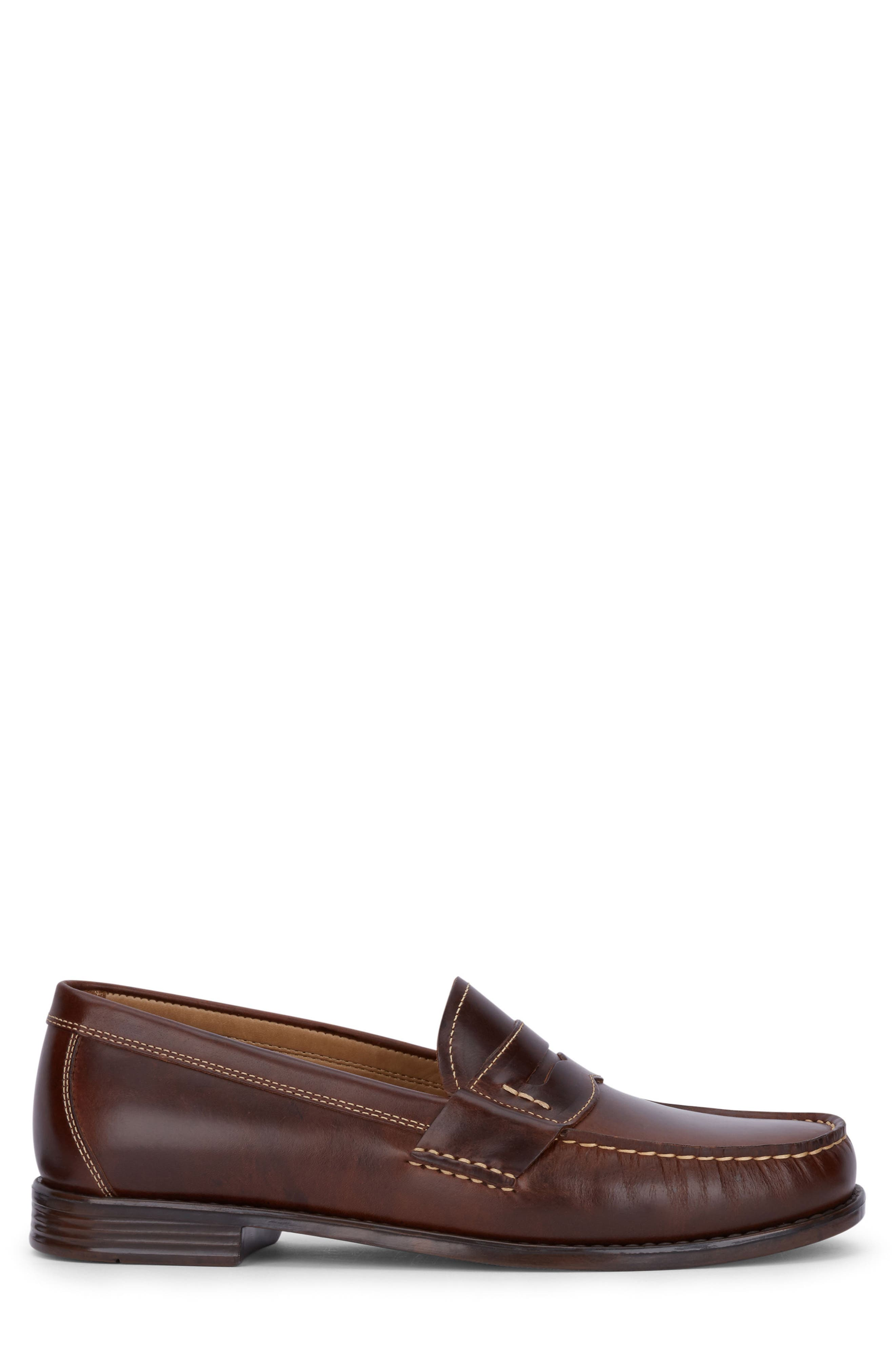 Wagner Penny Loafer,                             Alternate thumbnail 3, color,                             DARK BROWN LEATHER