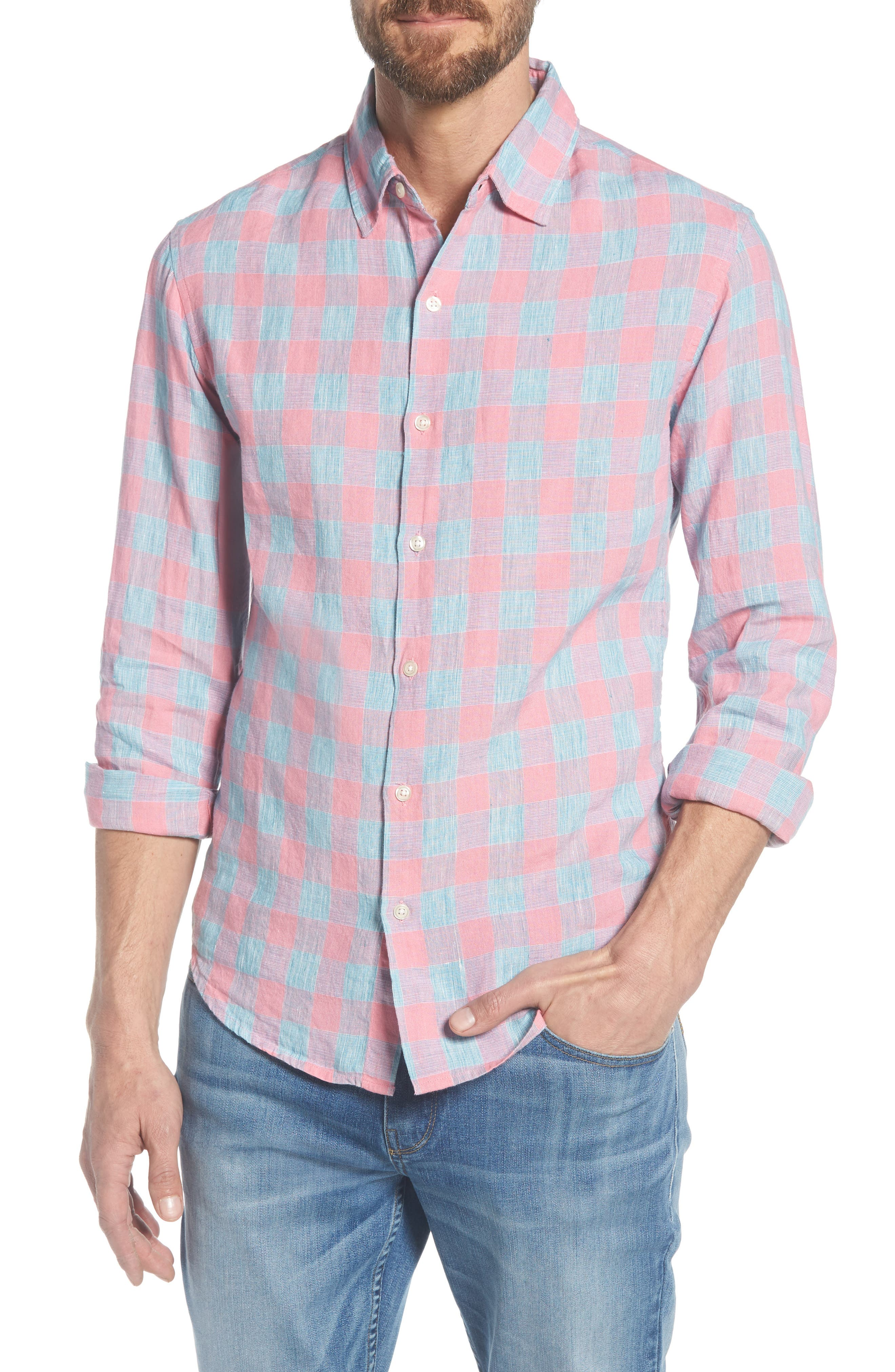 Slim Fit Plaid Linen & Cotton Sport Shirt,                             Main thumbnail 1, color,                             650
