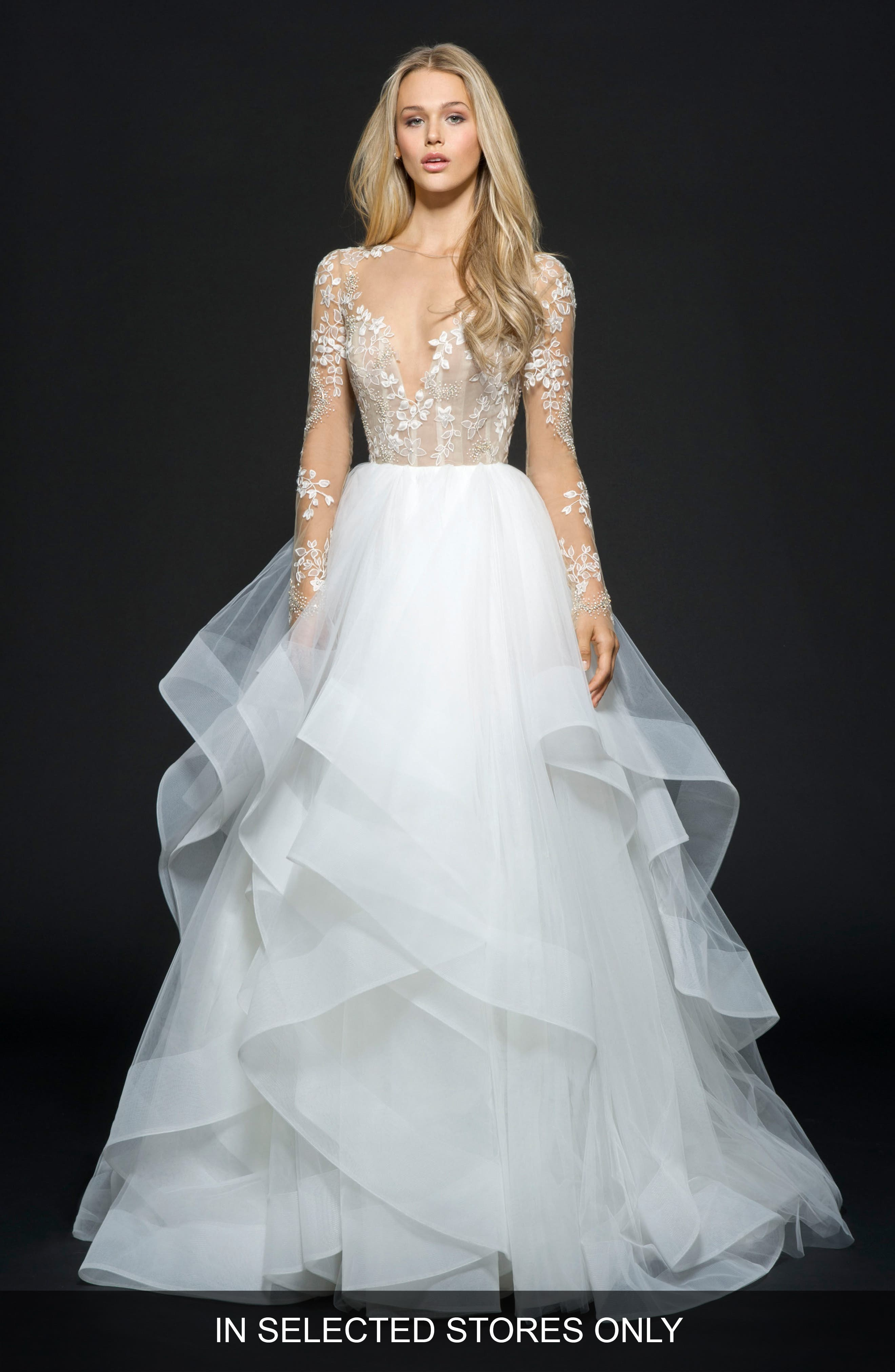 Hayley Paige Lorelei Embroidered Tulle Ballgown, Size - Ivory