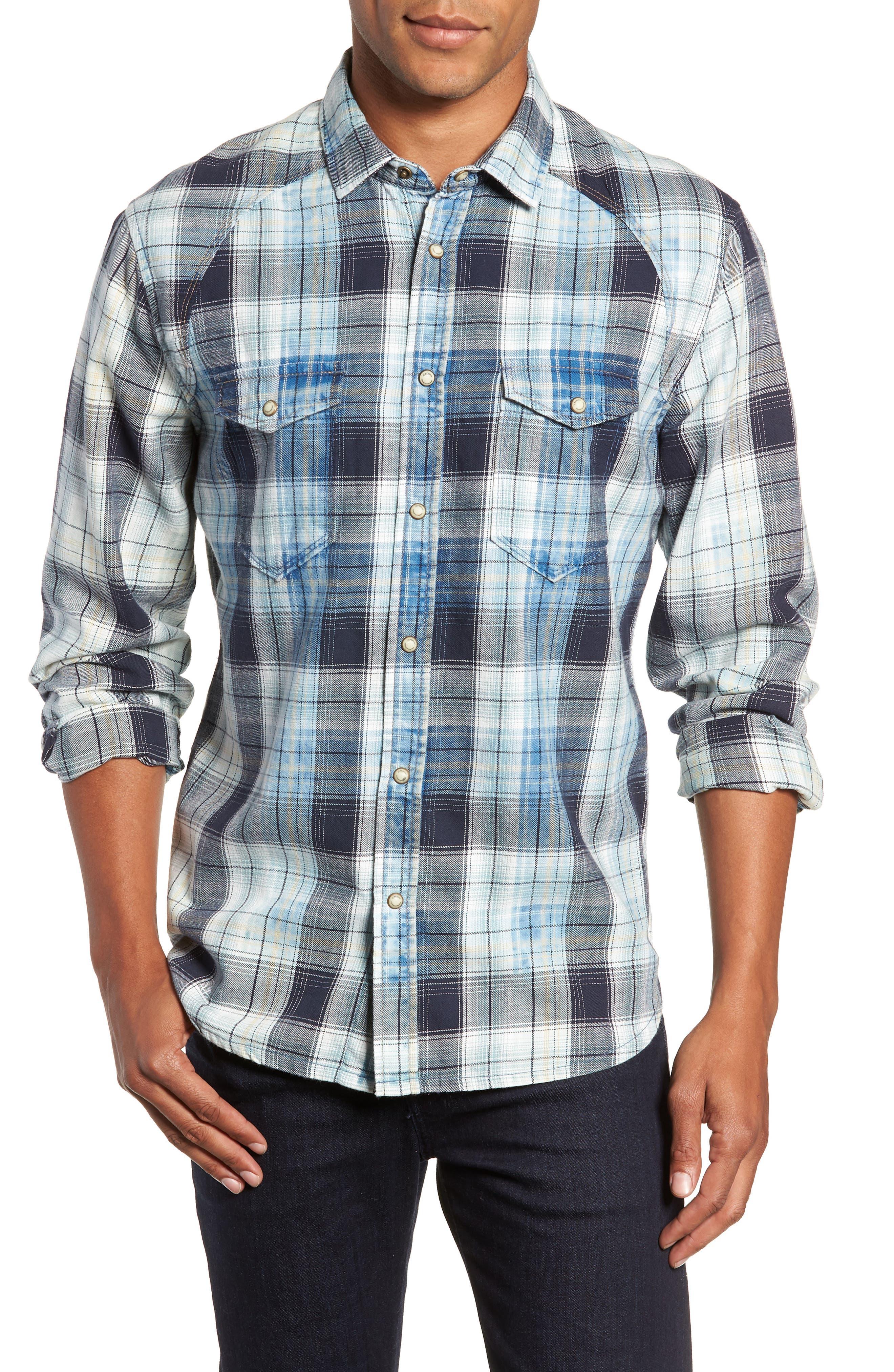 Sawtooth Regular Fit Crosshatch Plaid Shirt,                             Main thumbnail 1, color,                             ENSIGN BLUE