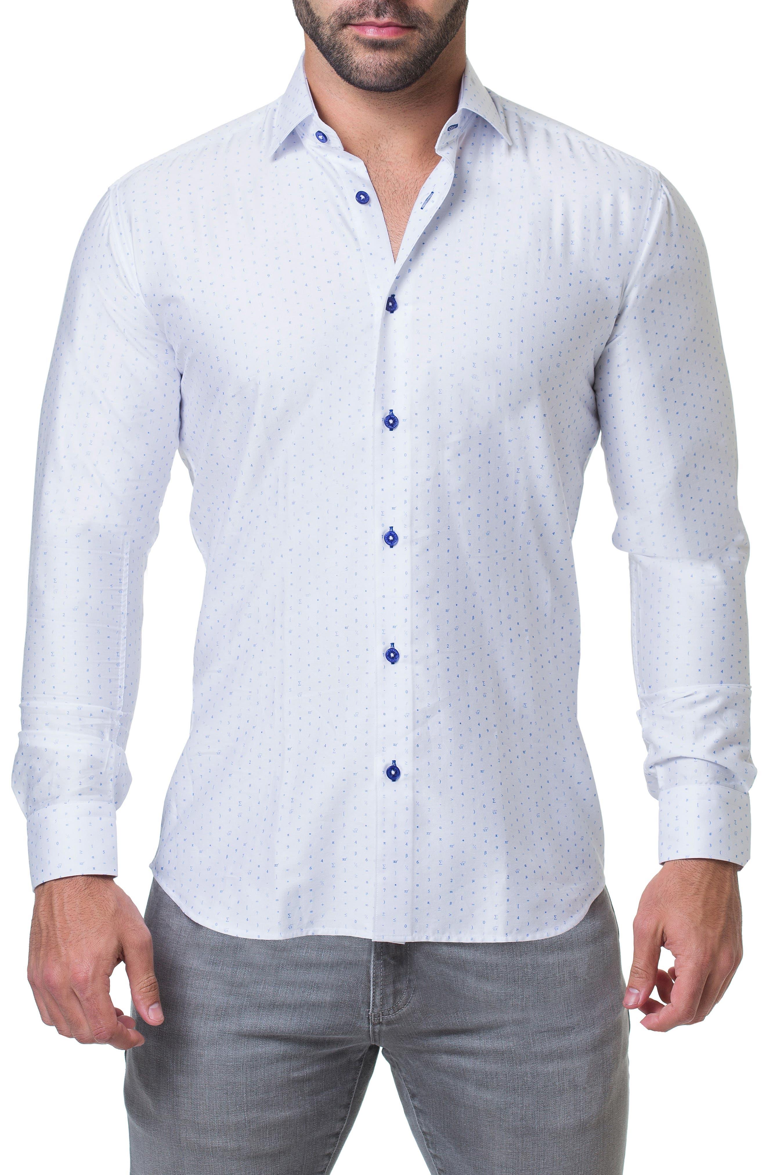 Fibonacci Math Trim Fit Print Sport Shirt, Main, color, 110