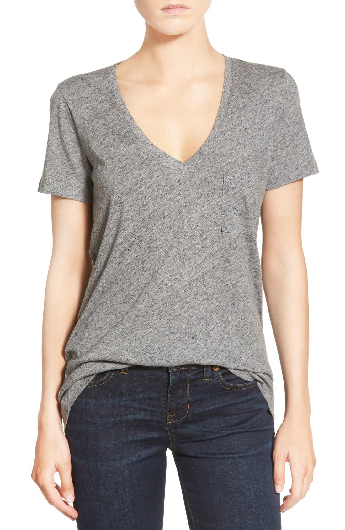 Whisper Cotton V-Neck Pocket Tee,                             Main thumbnail 9, color,