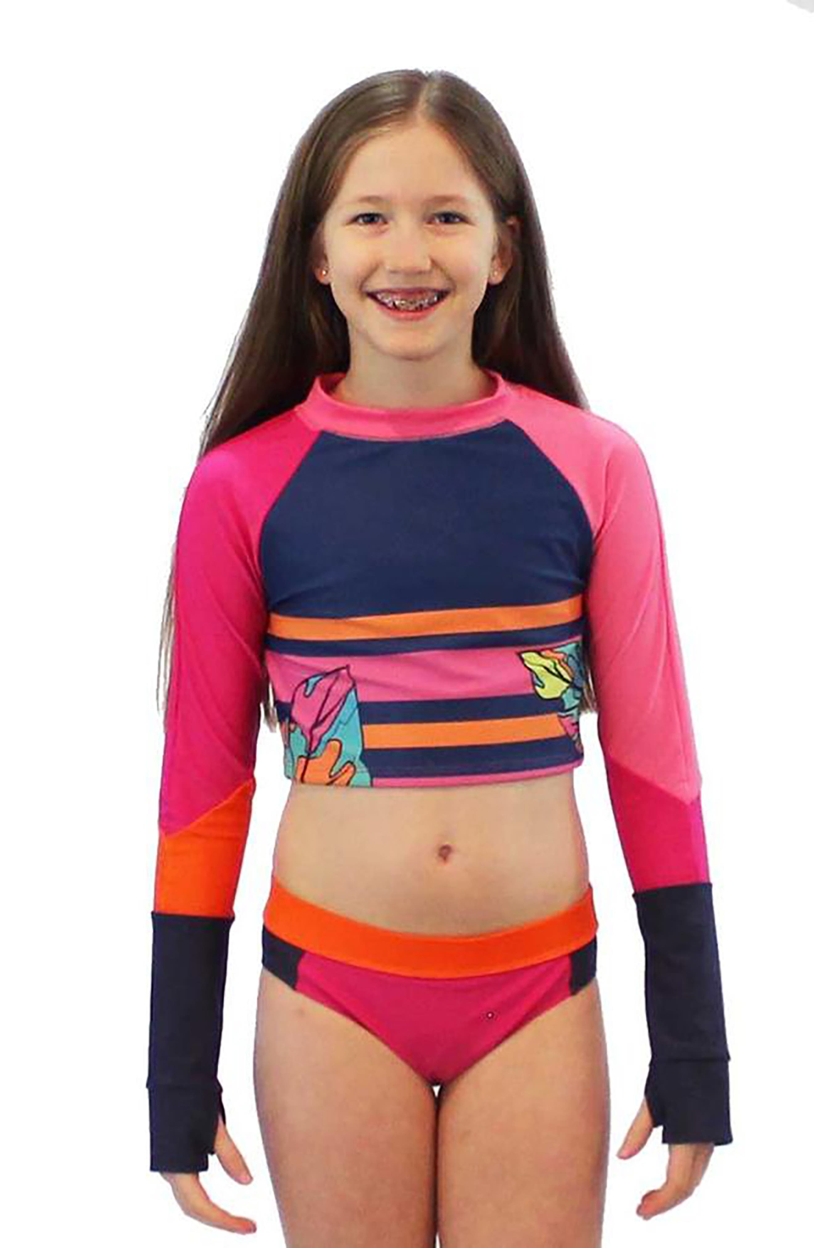 Natalia Crop Two-Piece Rashguard Swimsuit,                             Alternate thumbnail 2, color,                             650