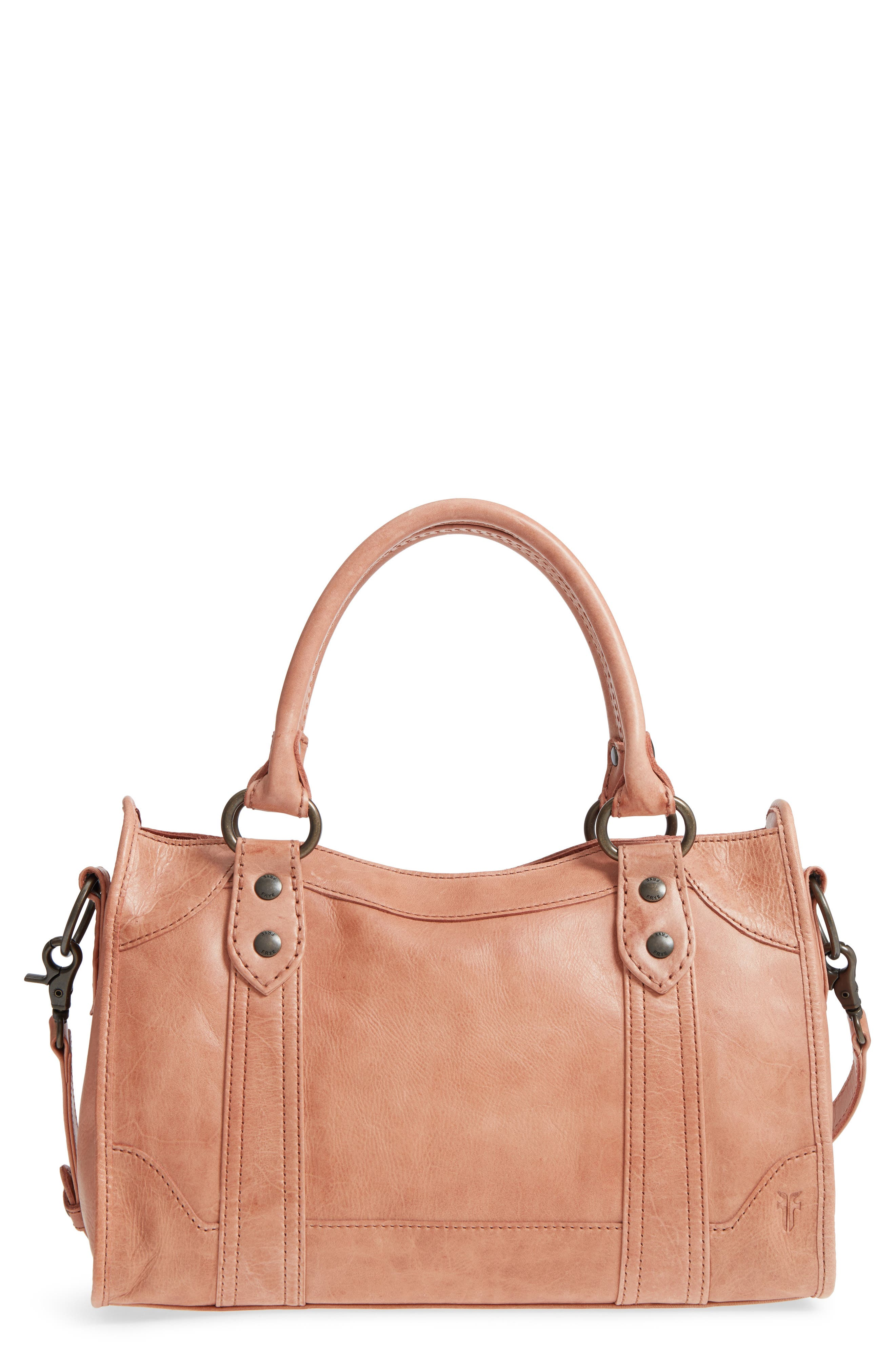 'Melissa' Washed Leather Satchel,                         Main,                         color, DUSTY ROSE