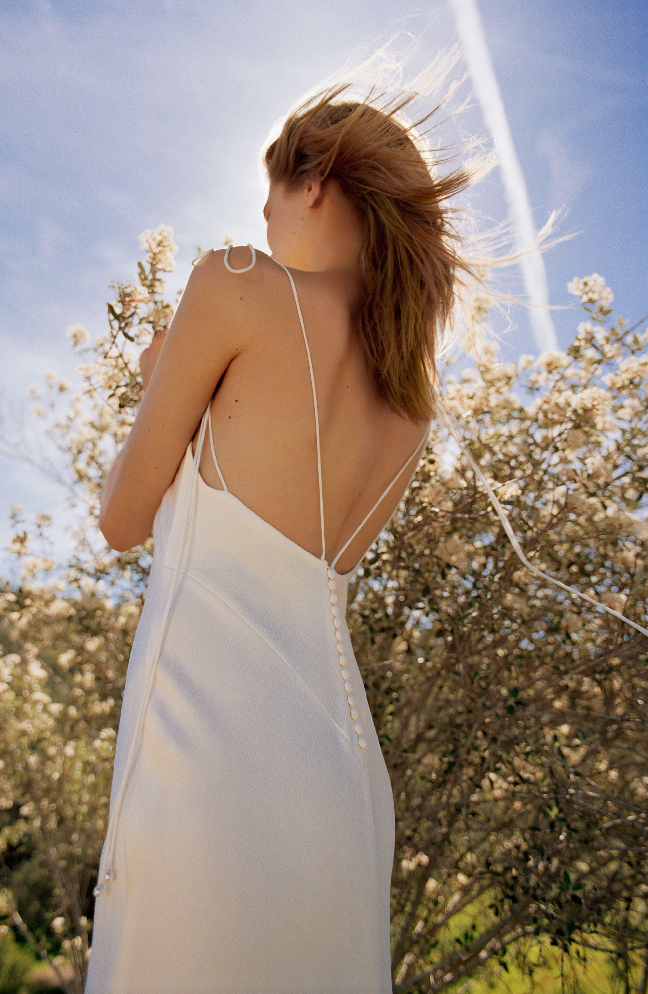 Bride V-Neck Satin Sheath Gown,                             Alternate thumbnail 7, color,                             900
