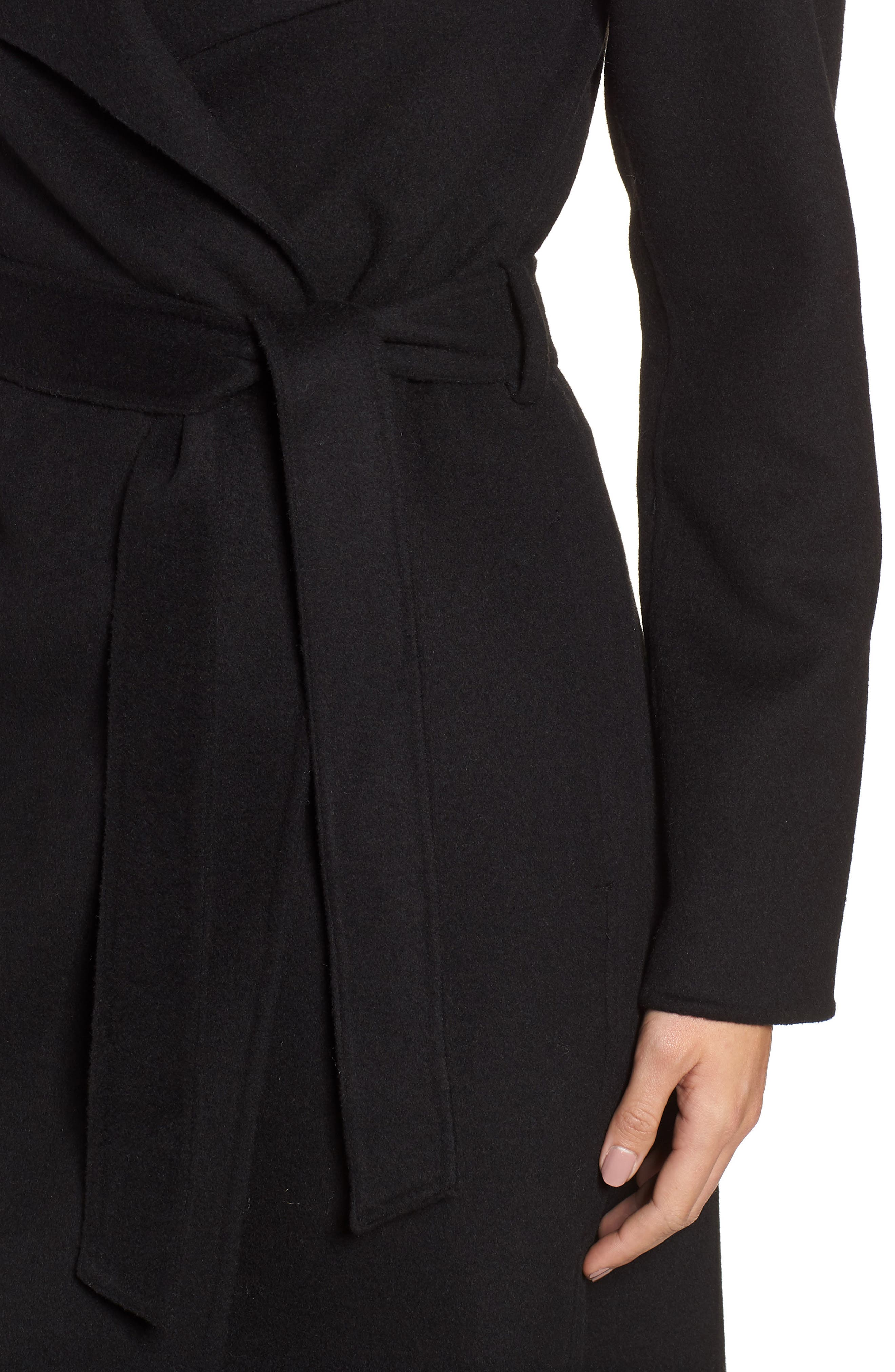 Ellie Double Face Wool Blend Wrap Coat,                             Alternate thumbnail 4, color,                             BLACK