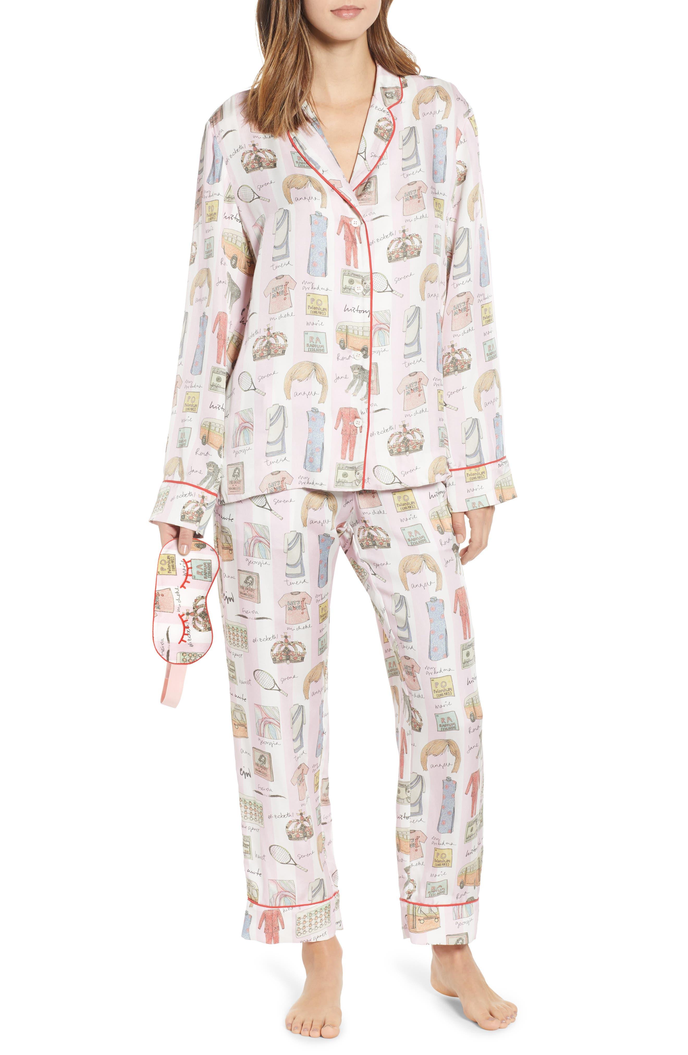 History, She Wrote Pajamas & Eye Mask,                         Main,                         color, PINK