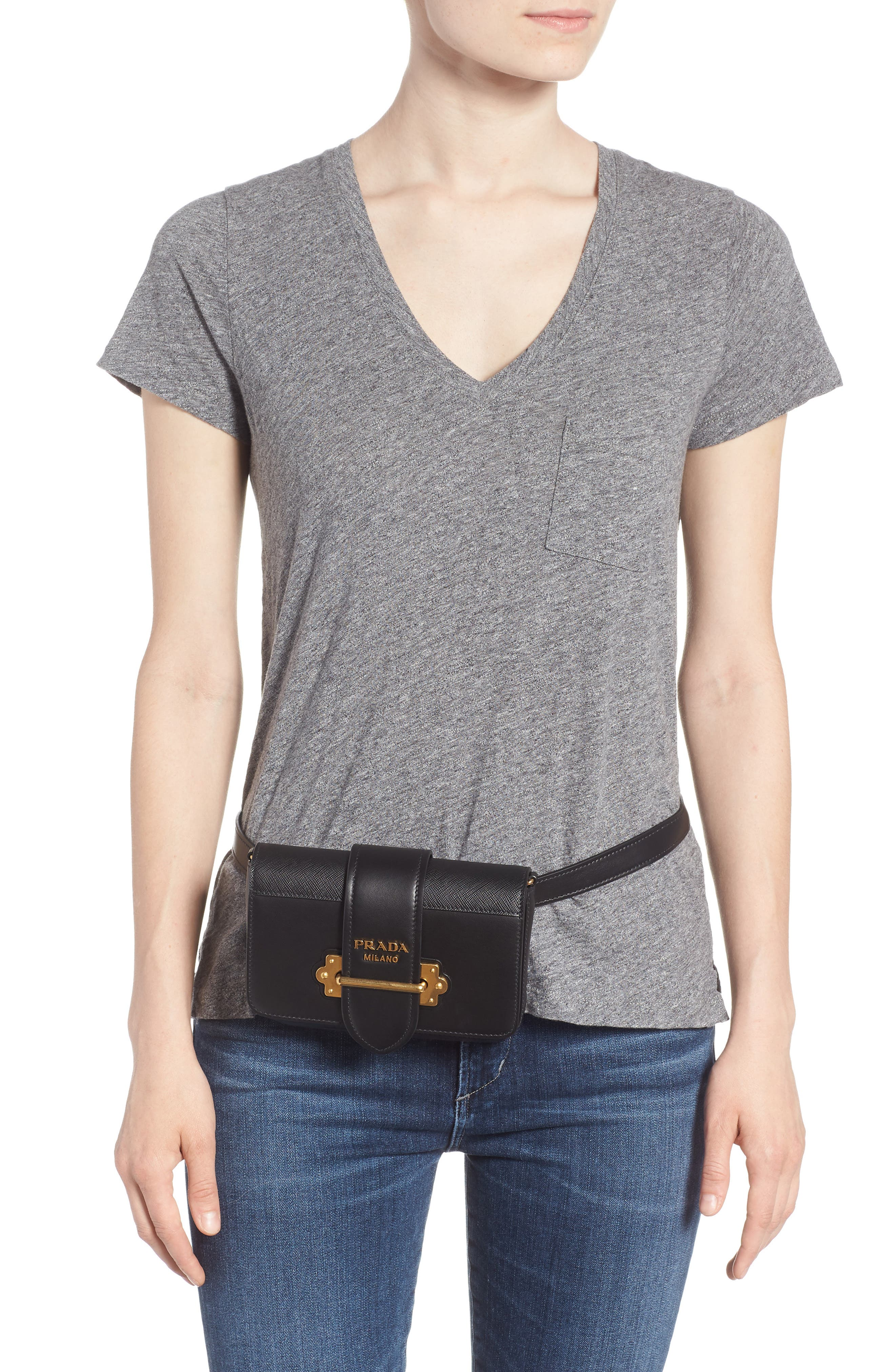 PRADA,                             Cahier Leather Belt Bag,                             Alternate thumbnail 2, color,                             001
