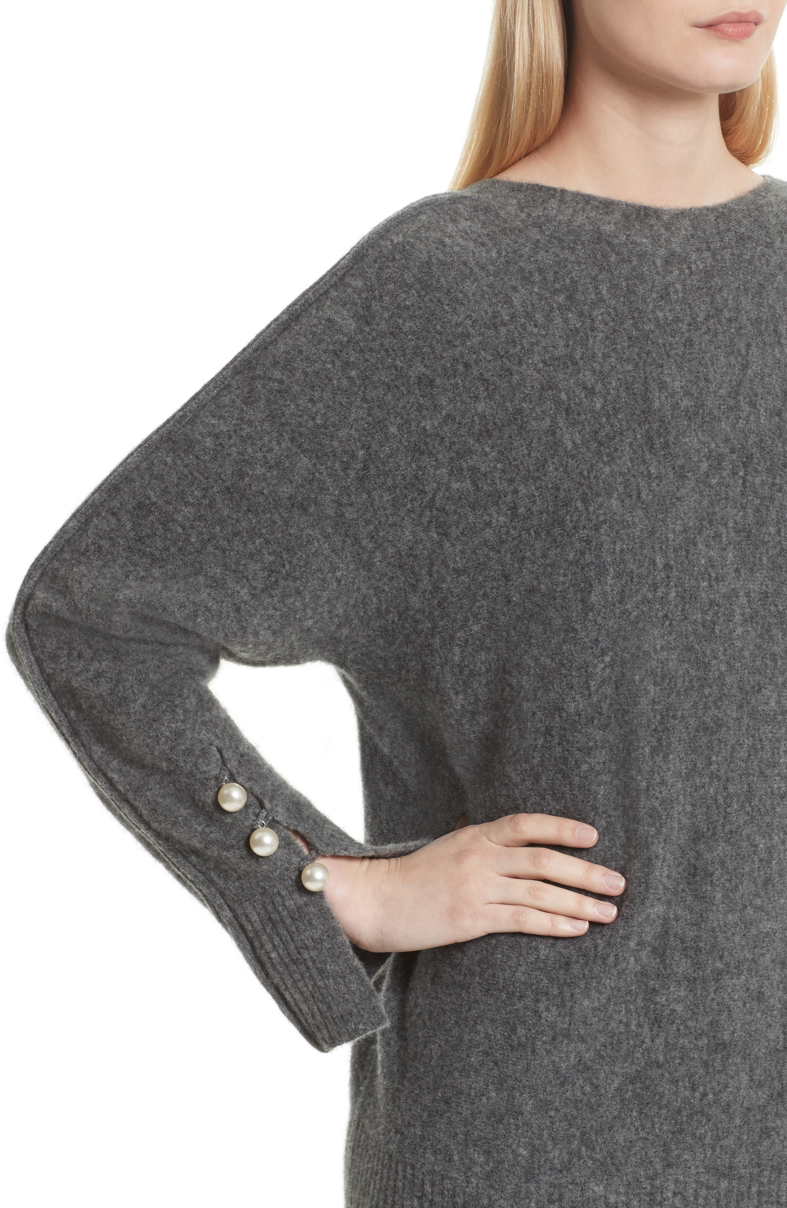 V-Back Sweater with Faux Pearl Cuffs,                             Alternate thumbnail 4, color,                             021