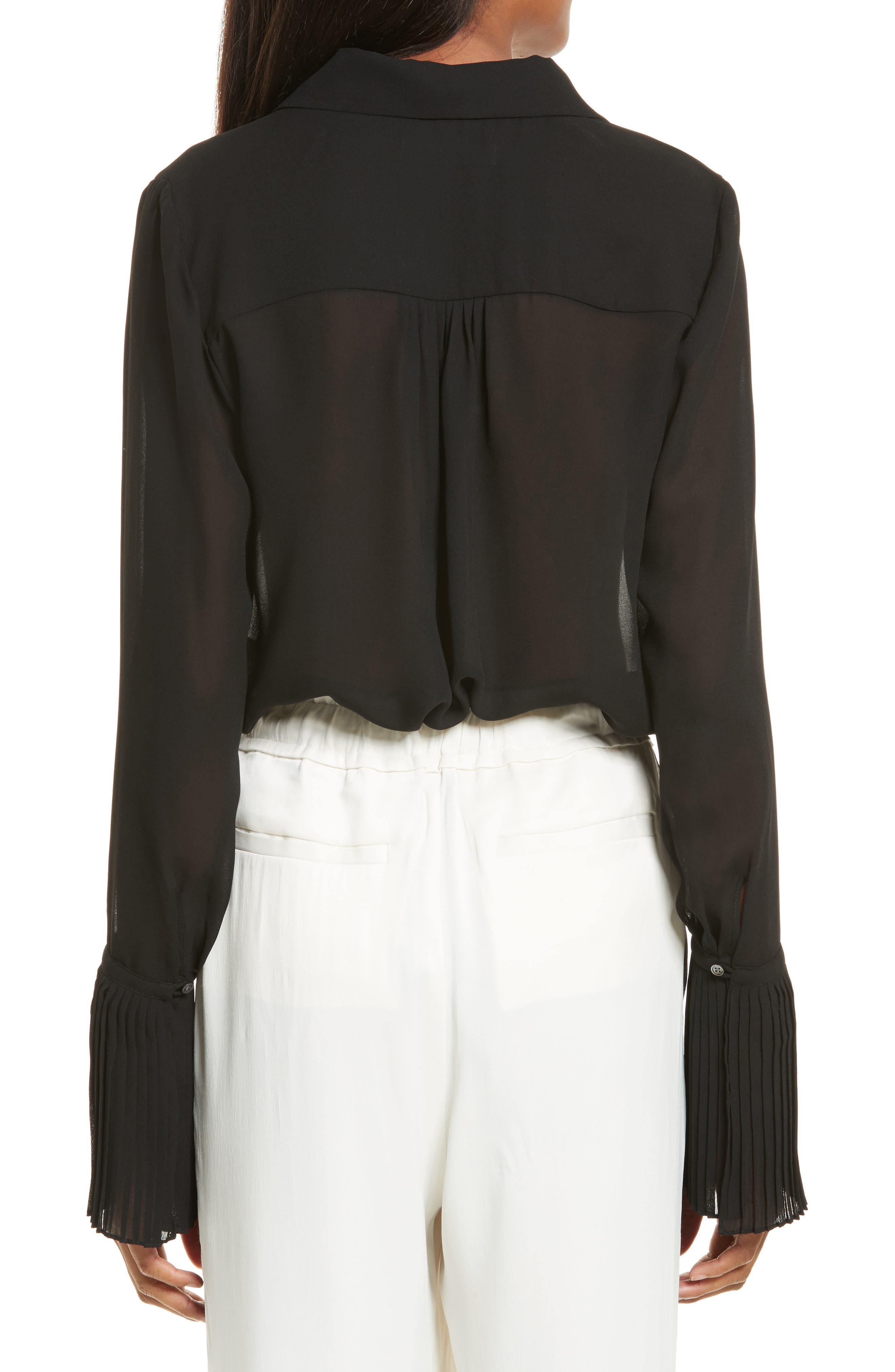 Sheer Pleated Blouse,                             Alternate thumbnail 2, color,