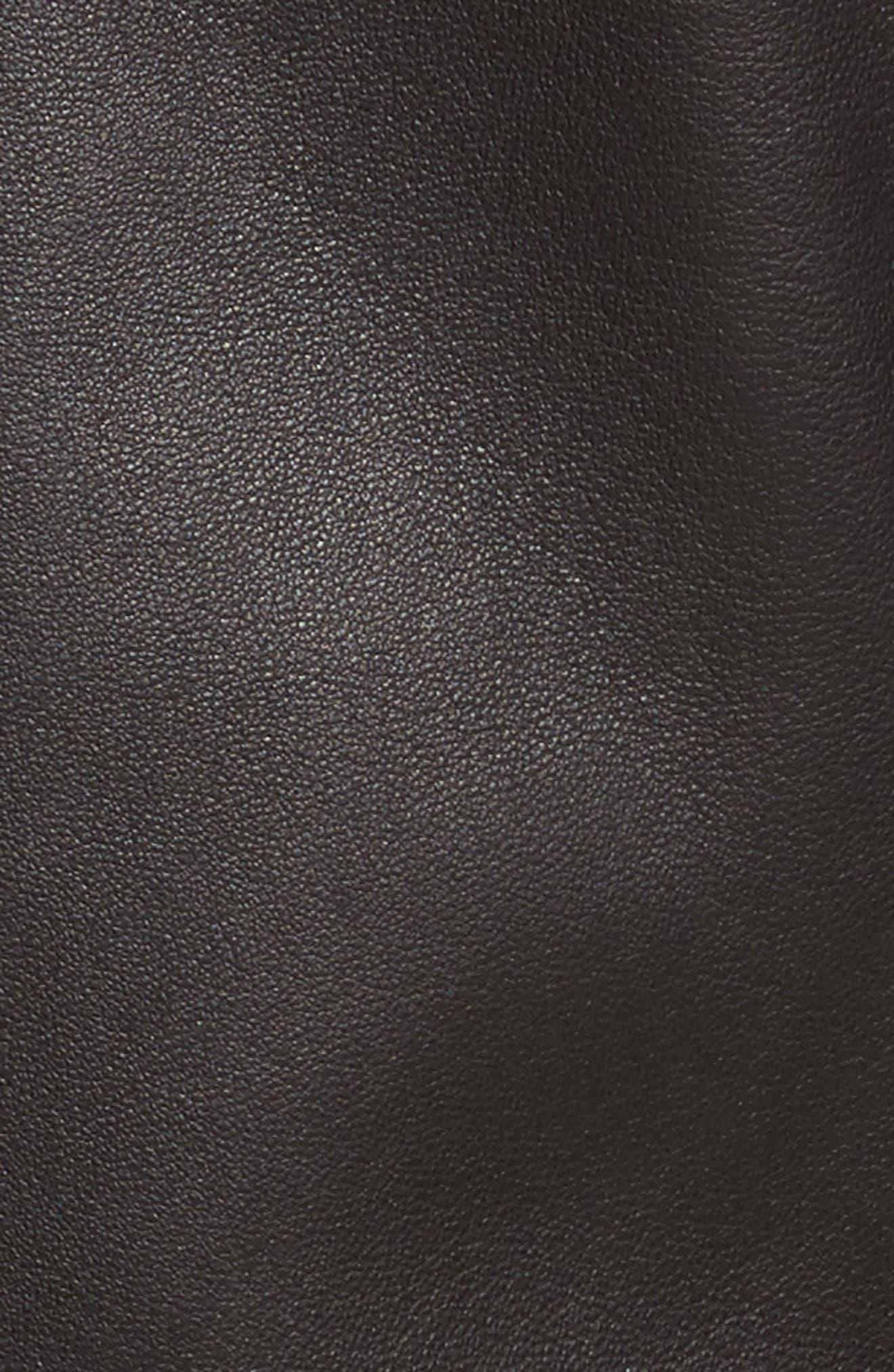 Painted Edge Shrunken Leather Moto Jacket,                             Alternate thumbnail 5, color,                             001