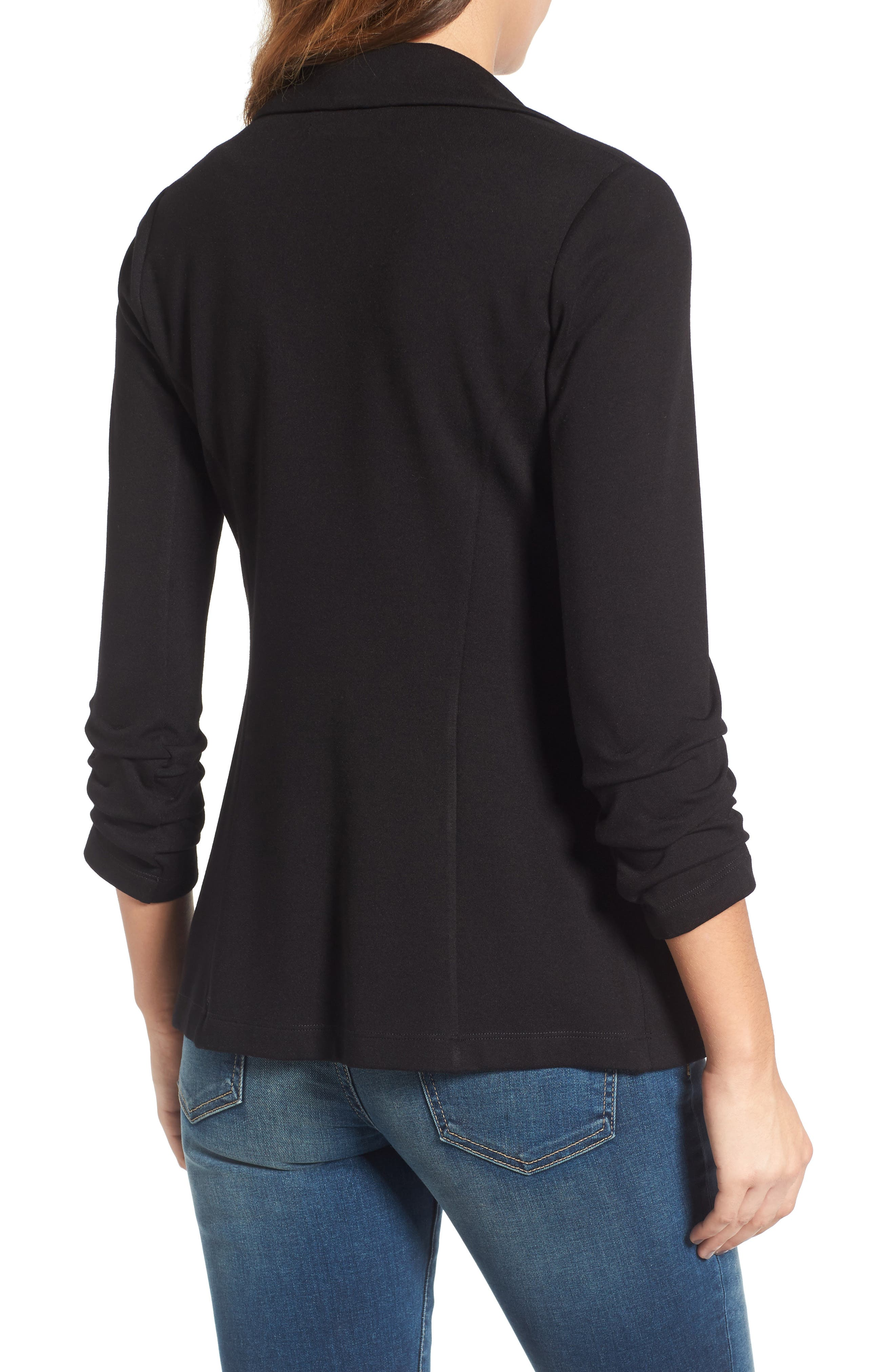 'Jane' Ruched Sleeve Knit Blazer,                             Alternate thumbnail 2, color,                             001