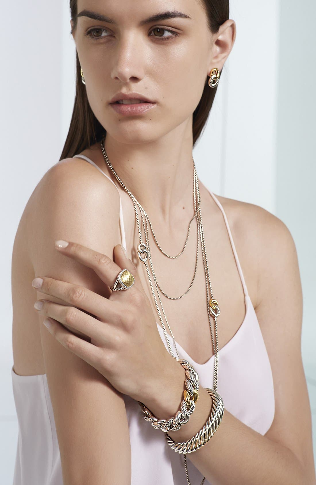 'Chain' Baby Box Chain Necklace,                             Alternate thumbnail 3, color,                             TWO TONE