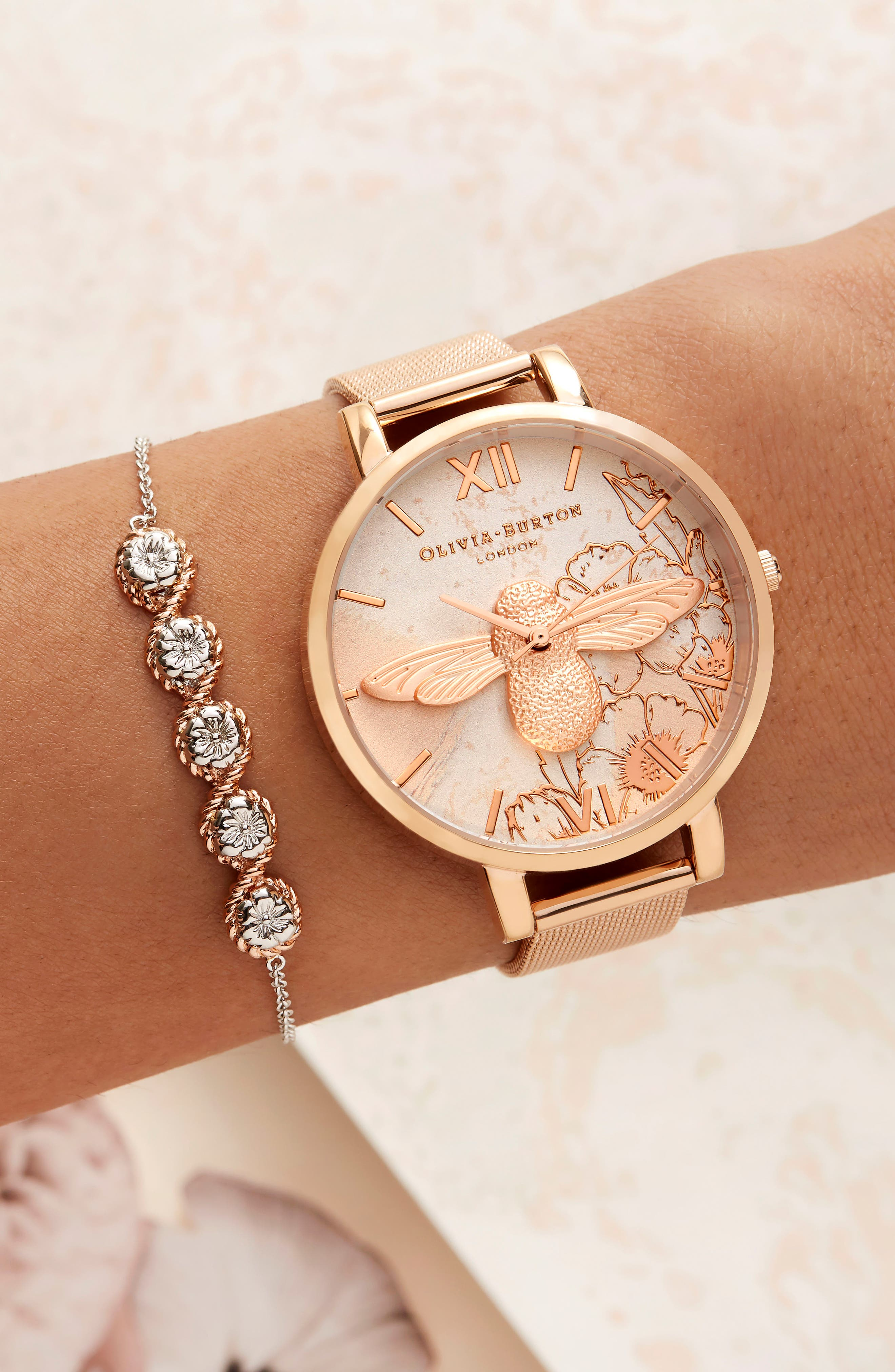 Abstract Floral Mesh Strap Watch, 38mm,                             Alternate thumbnail 7, color,                             ROSE GOLD/ FLORAL/ ROSE GOLD